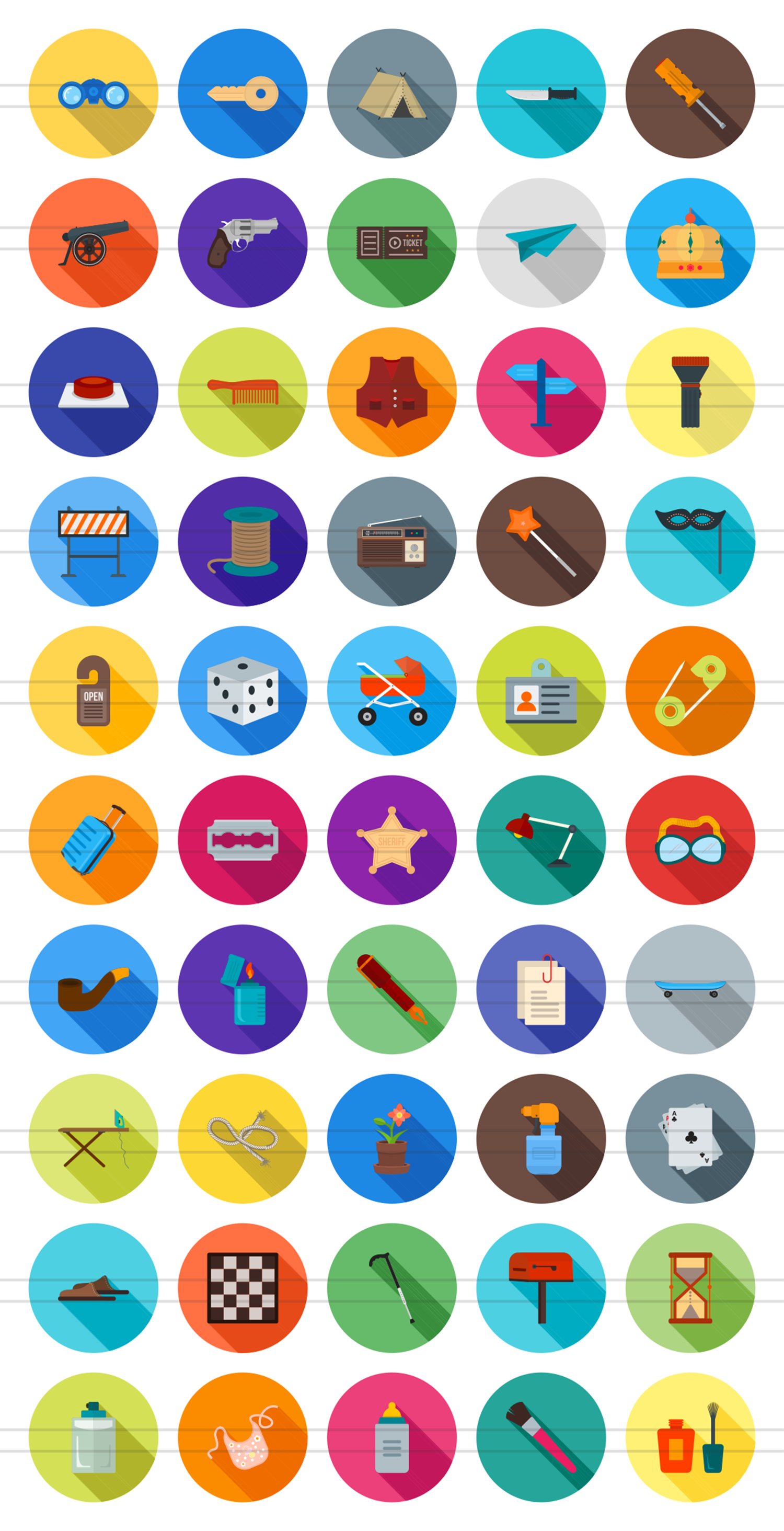 50 Objects Flat Long Shadow Icons example image 2
