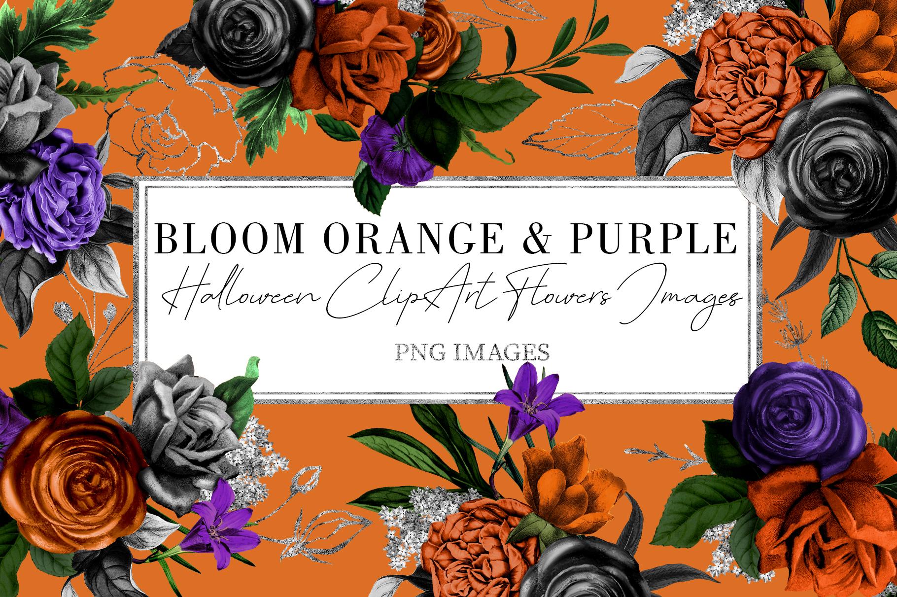 Orange & Purple Flower | Halloween Blossom example image 1