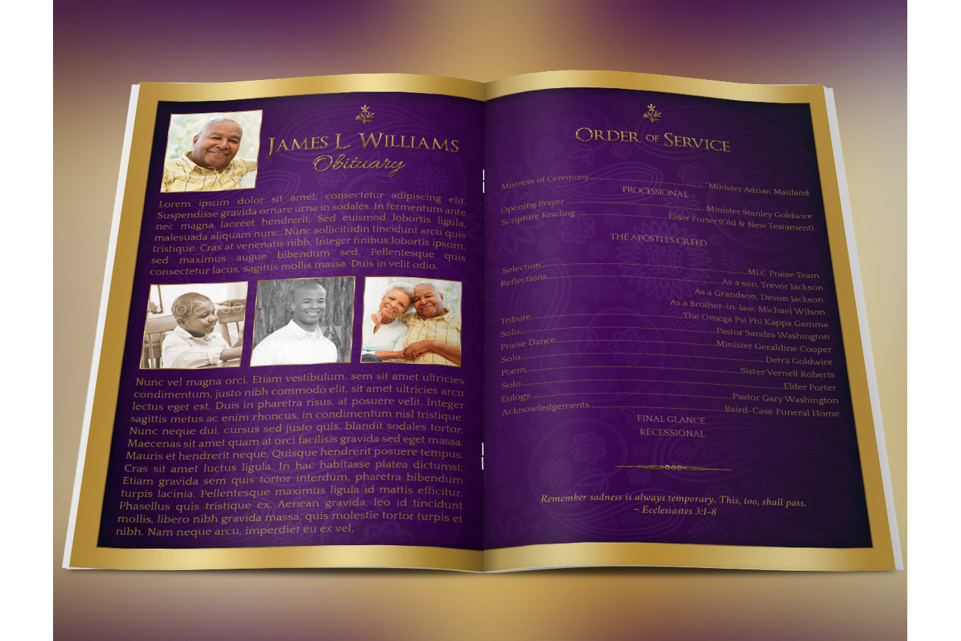 regal funeral program large psd templat design bundles