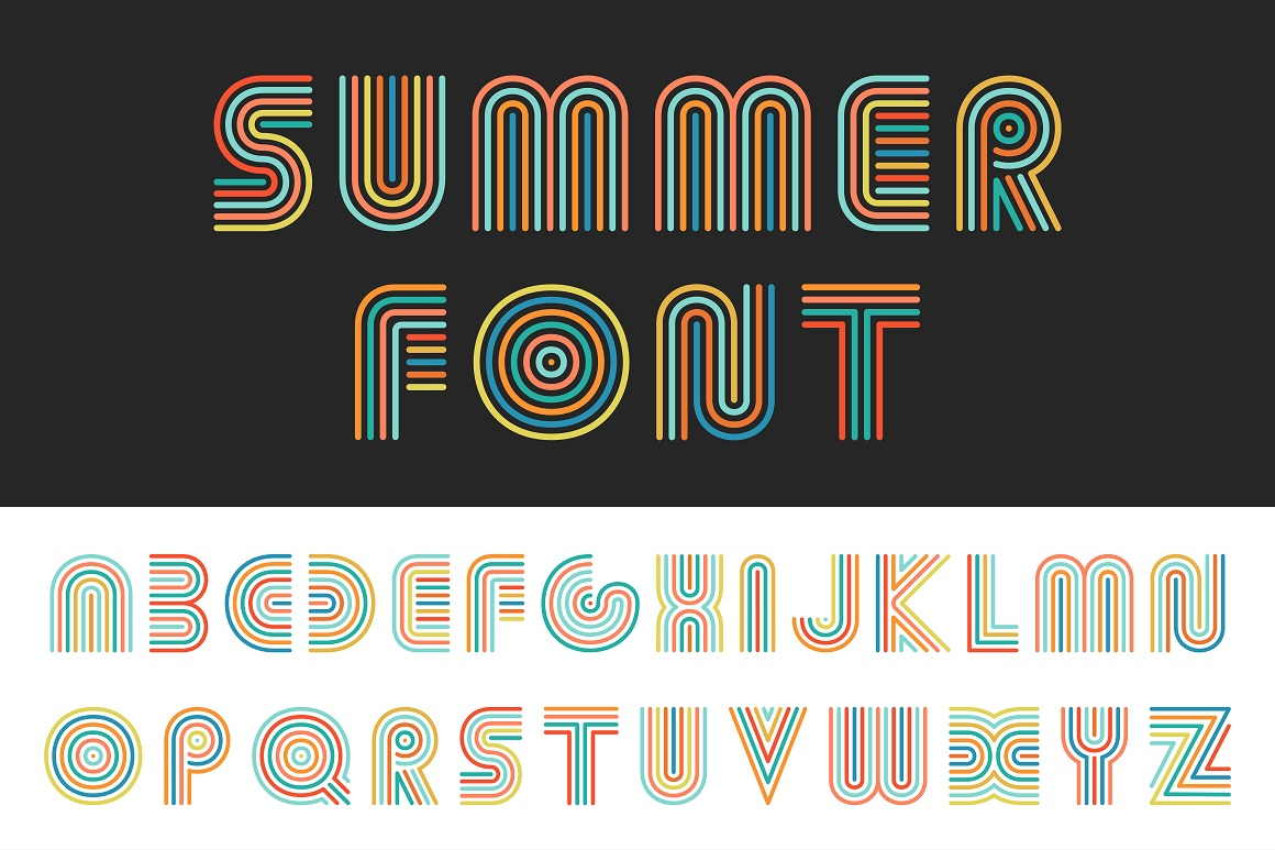 Colorful striped alphabet. example image 1