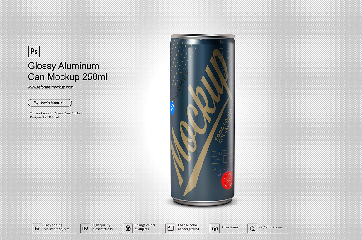 Glossy Aluminum Can Mockup 250ml example image 2