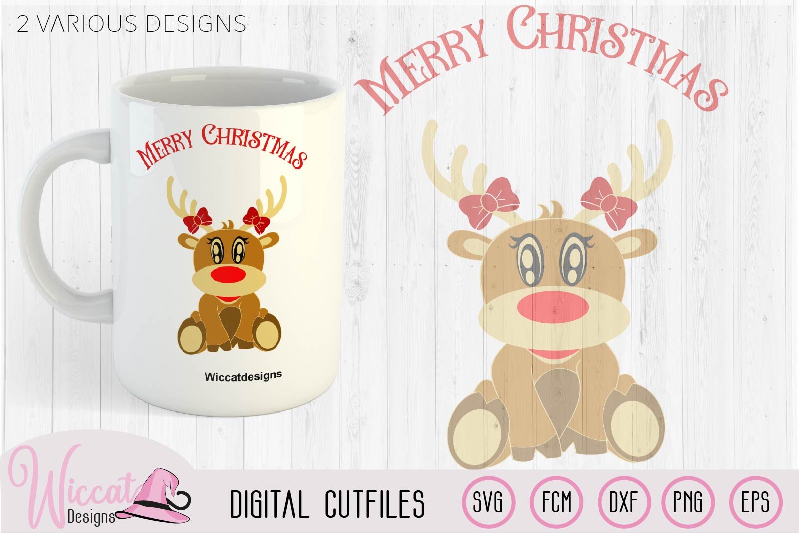 Baby girl reindeer, christmas cut files example image 2