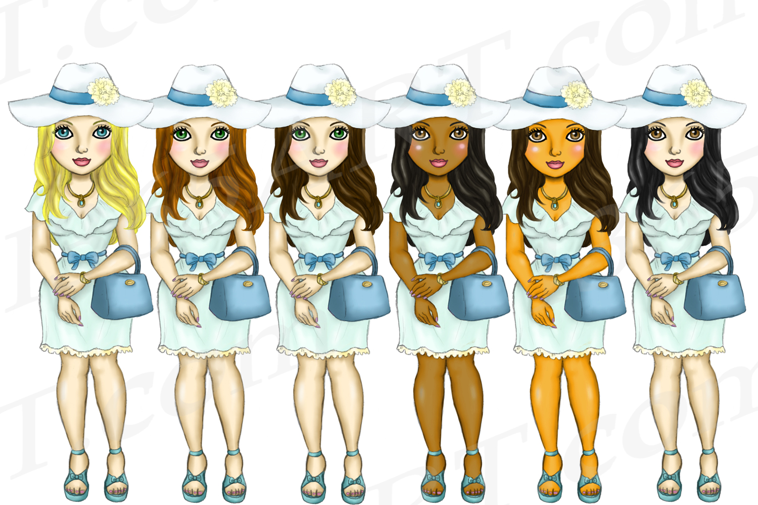Easter Fashion Girls Clipart, Black Girl Dolls Fashion PNG example image 2