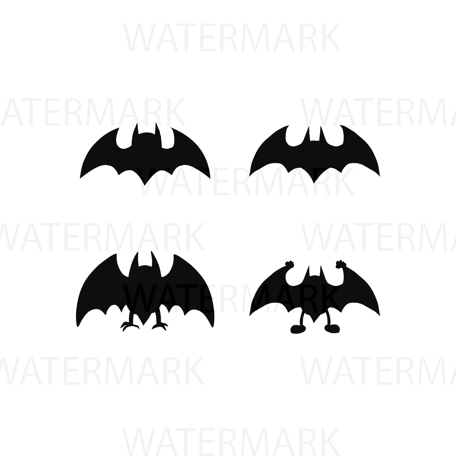 Set of Four Bats - SVG/JPG/PNG - Hand Drawing example image 1