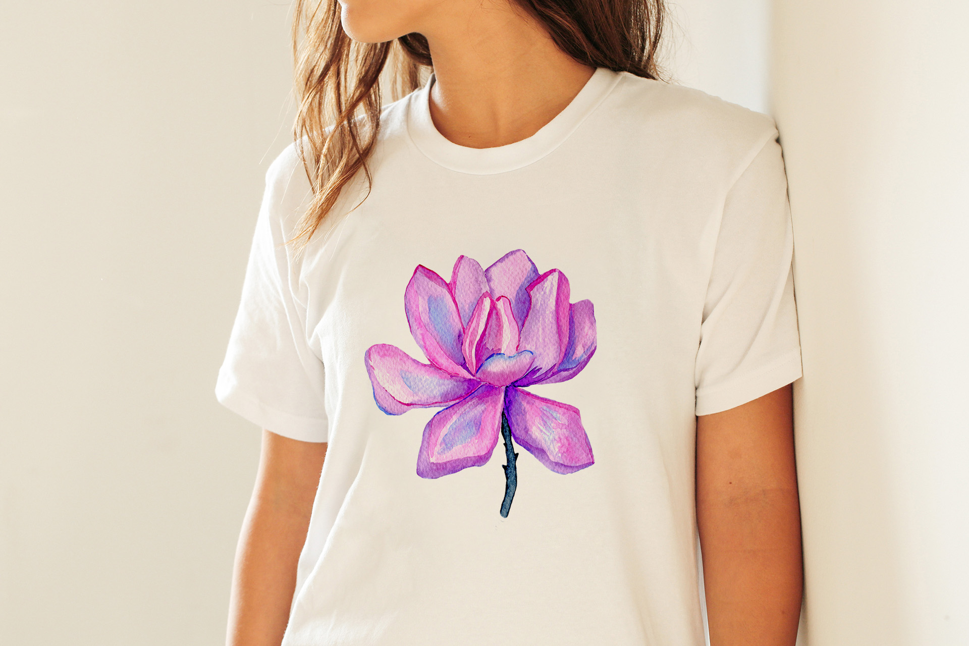 Watercolor Magnolia Flower - PNG Sublimation Design example image 3