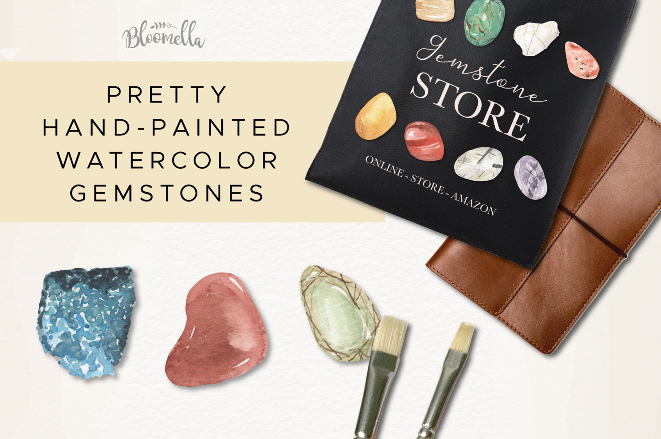 101 Gemstones Collection Watercolor Clipart ElementsCrystals example image 5