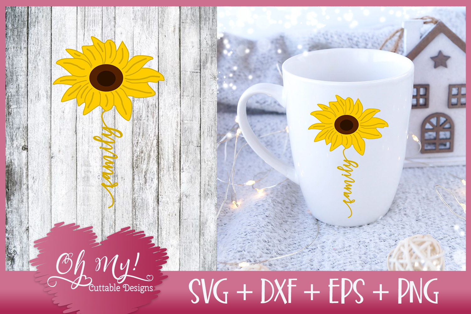Family Sunflower - SVG EPS DXF PNG Cutting File example image 3