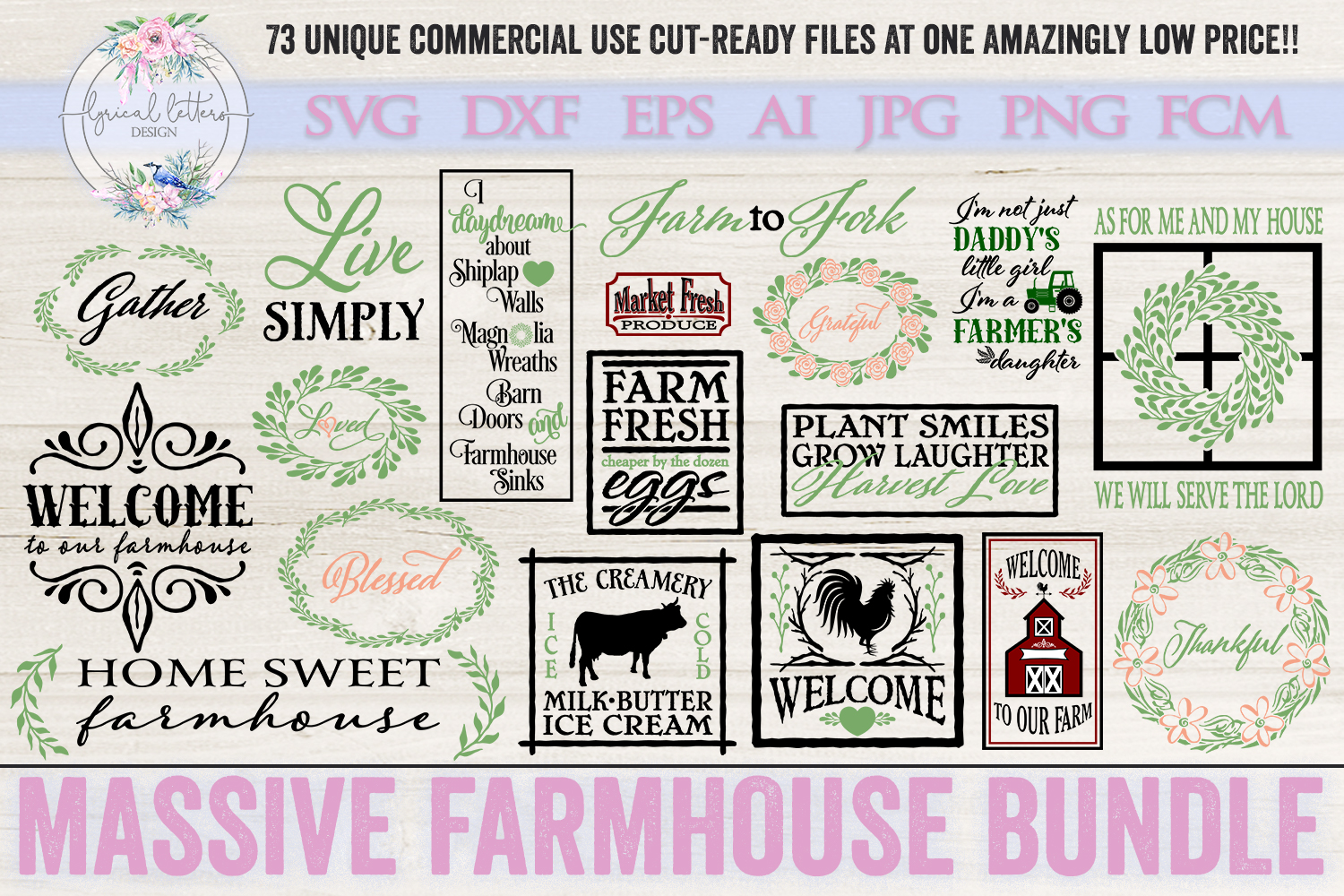 Farmhouse Bundle of 73 SVG DXF Cut File example image 3