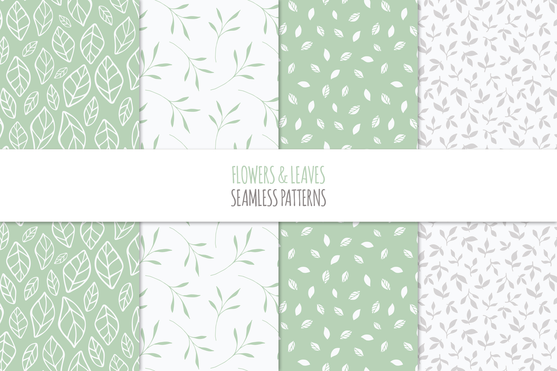 Floral Seamless Patterns - Green example image 7
