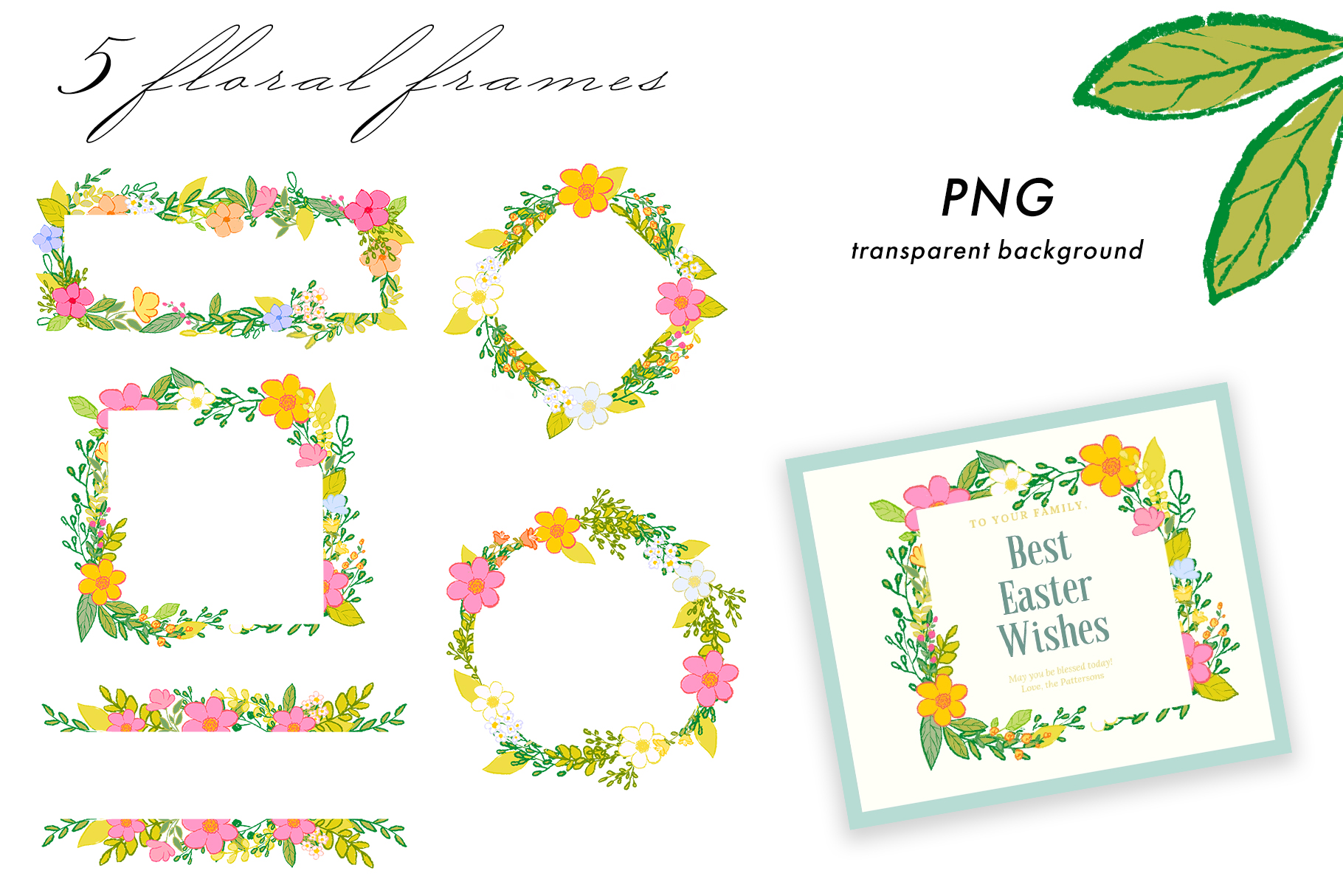 Hand draw colorful spring flowers example image 5