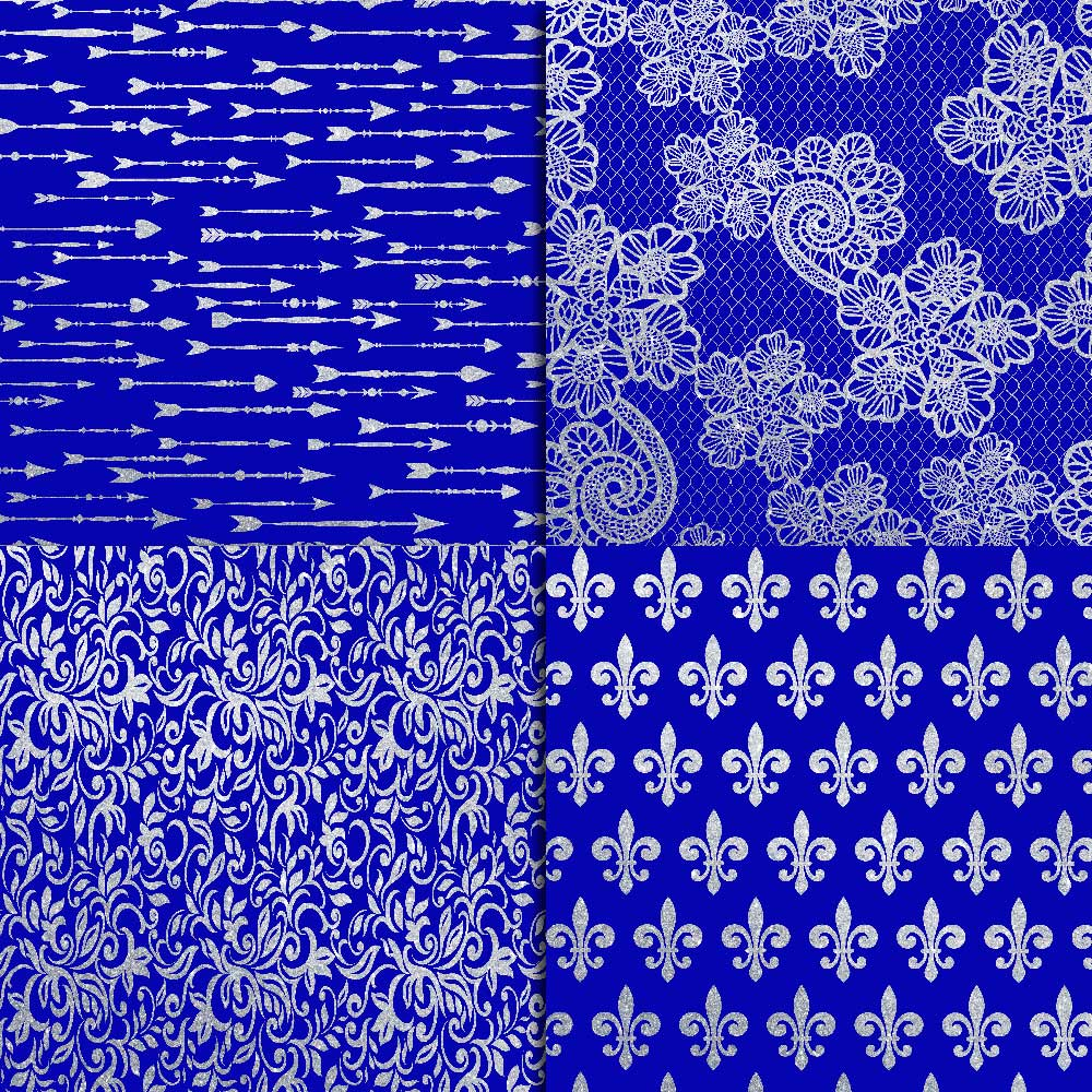 Royal Blue & Silver Glitter Digital Paper example image 4