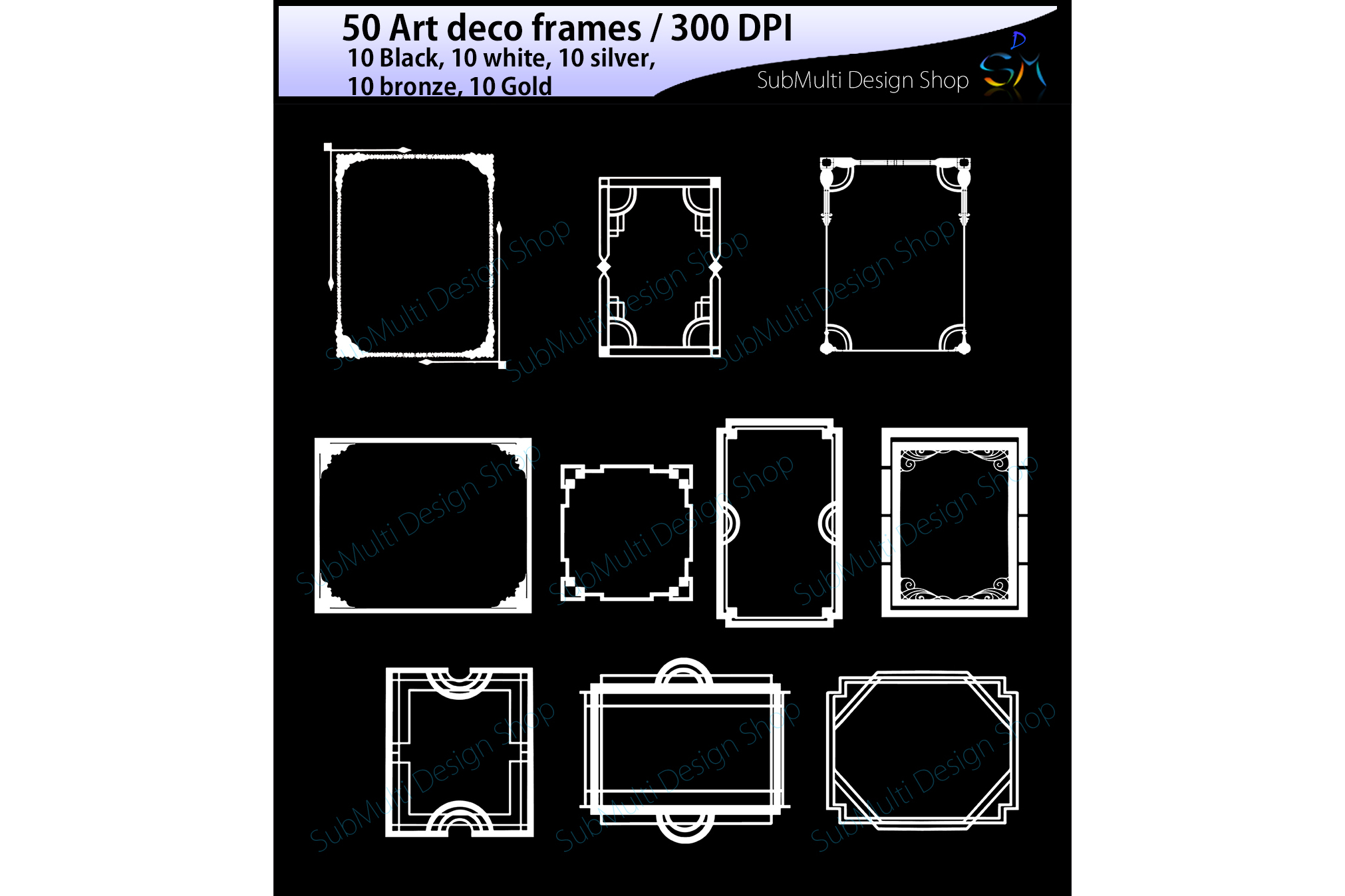 art deco frames / art deco frames clipart / art deco frames silhouette / art deco gold frames / art deco silver frame / digital/High Quality example image 5