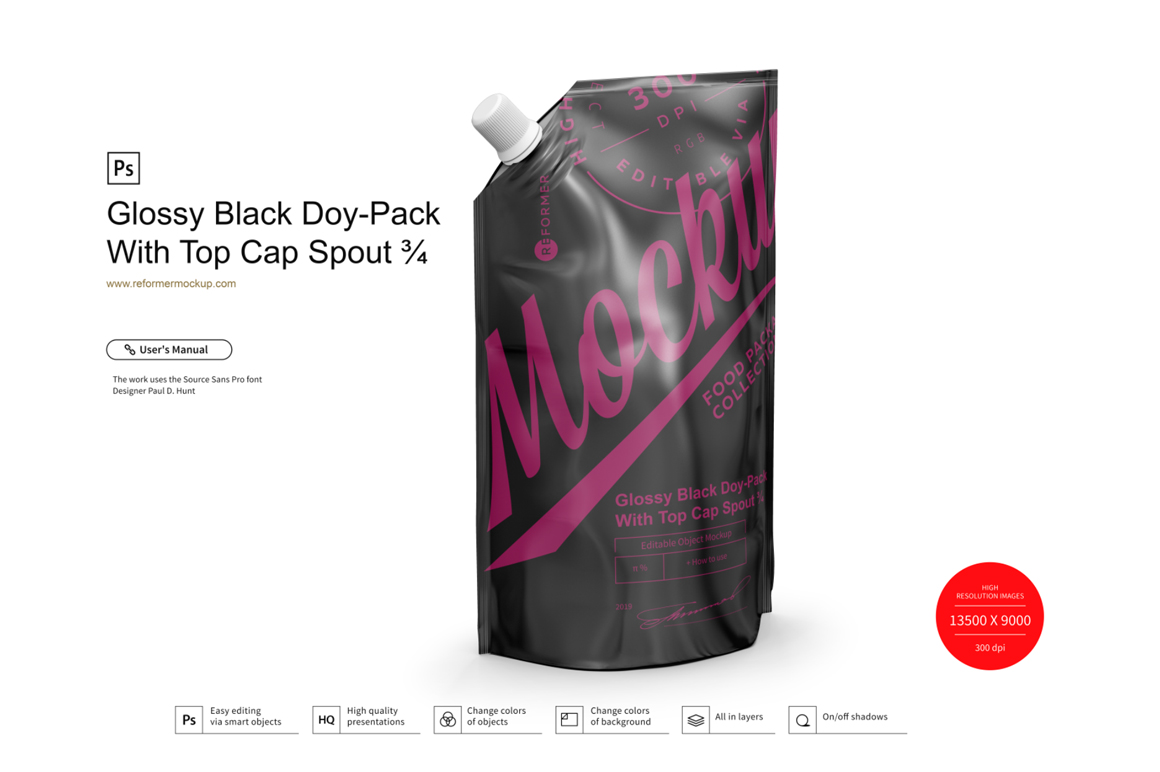 Glossy Black Doy-Pack With Top Cap Spout example image 3