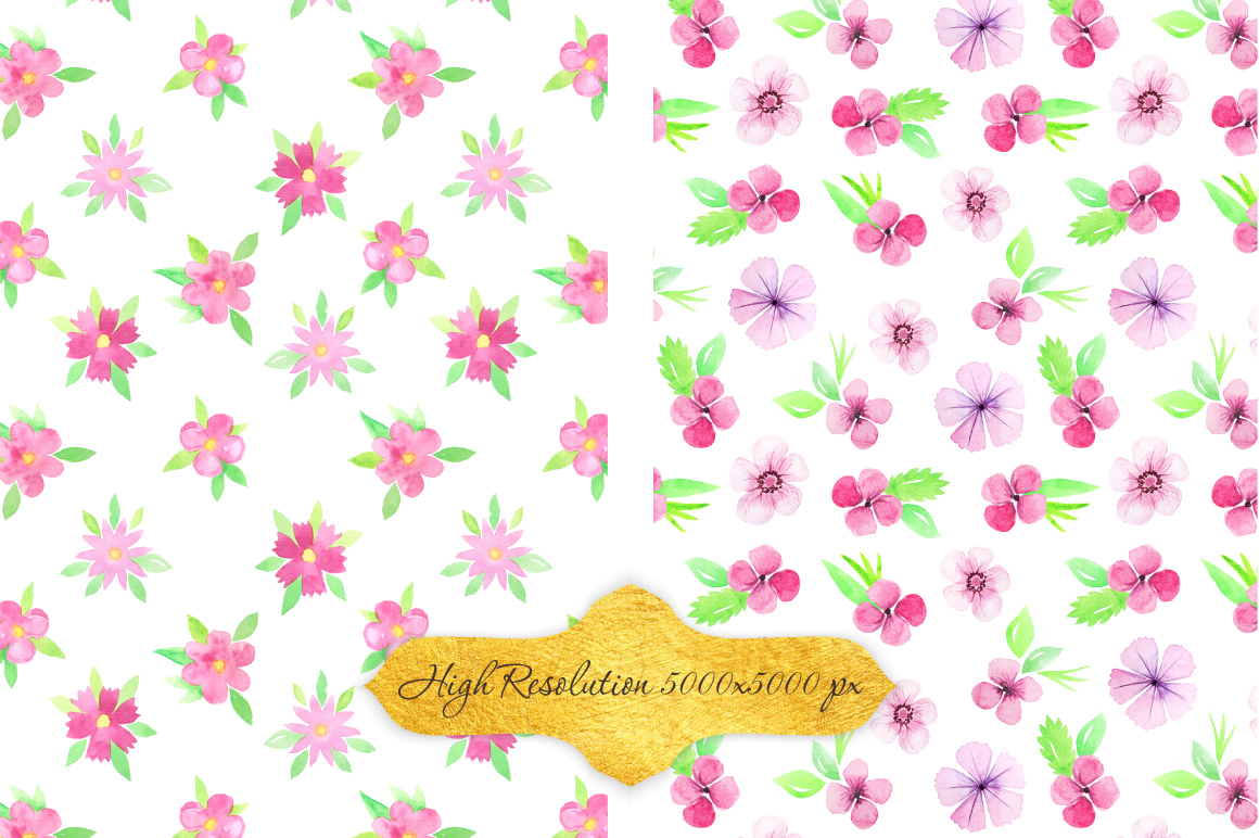 Watercolor Floral Patterns Vol.2 example image 3
