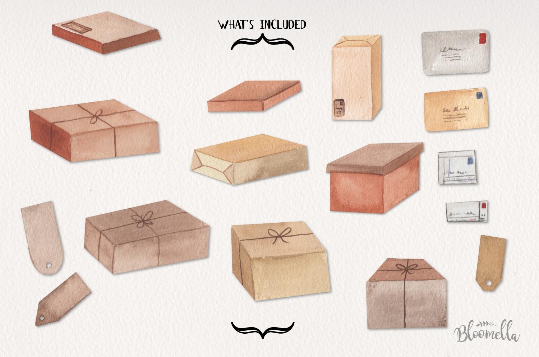 Parcels Watercolor 16 Elements Boxes Postage Letters Labels example image 3