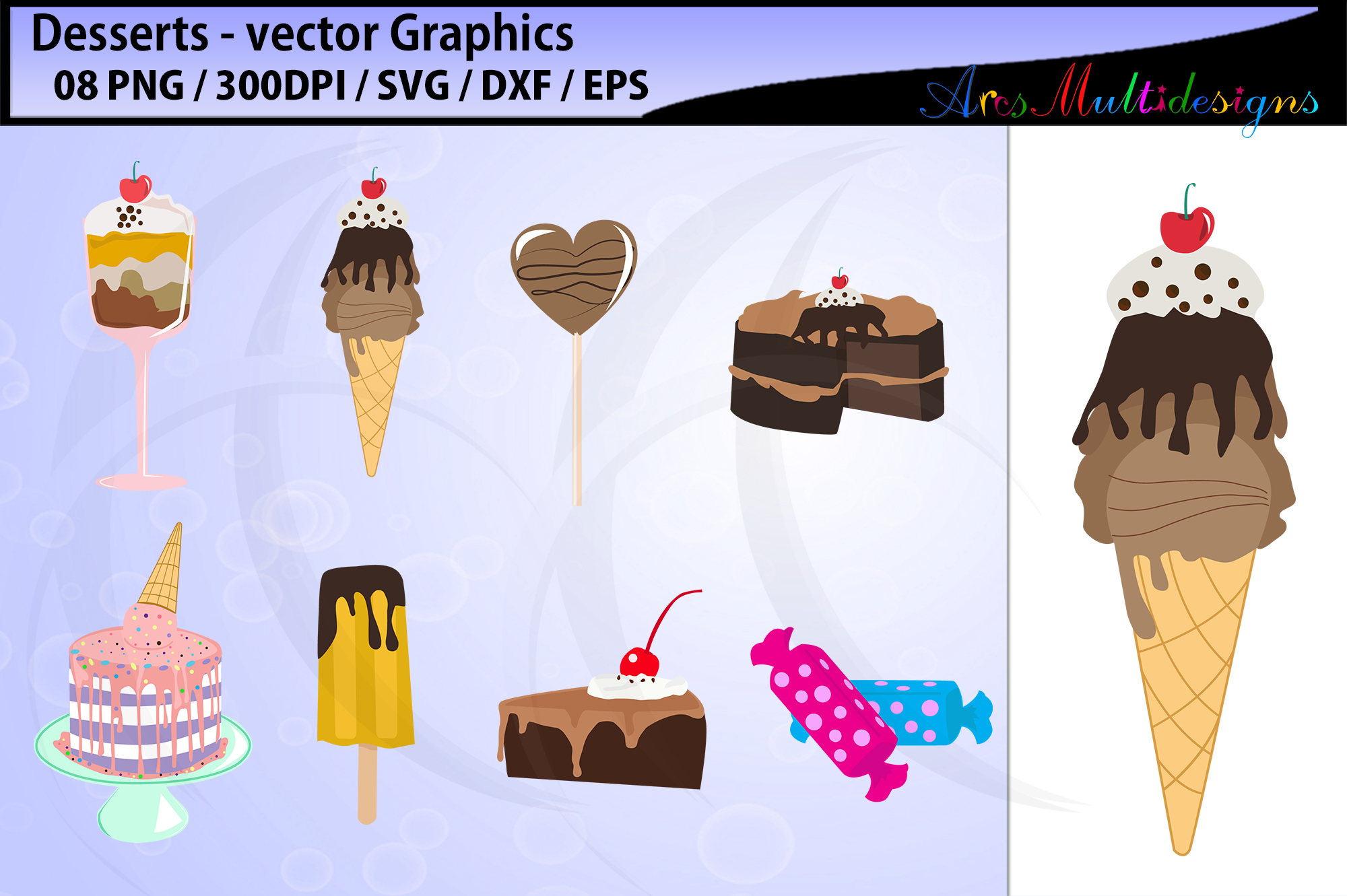desserts vector svg graphics / desserts clipart example image 1