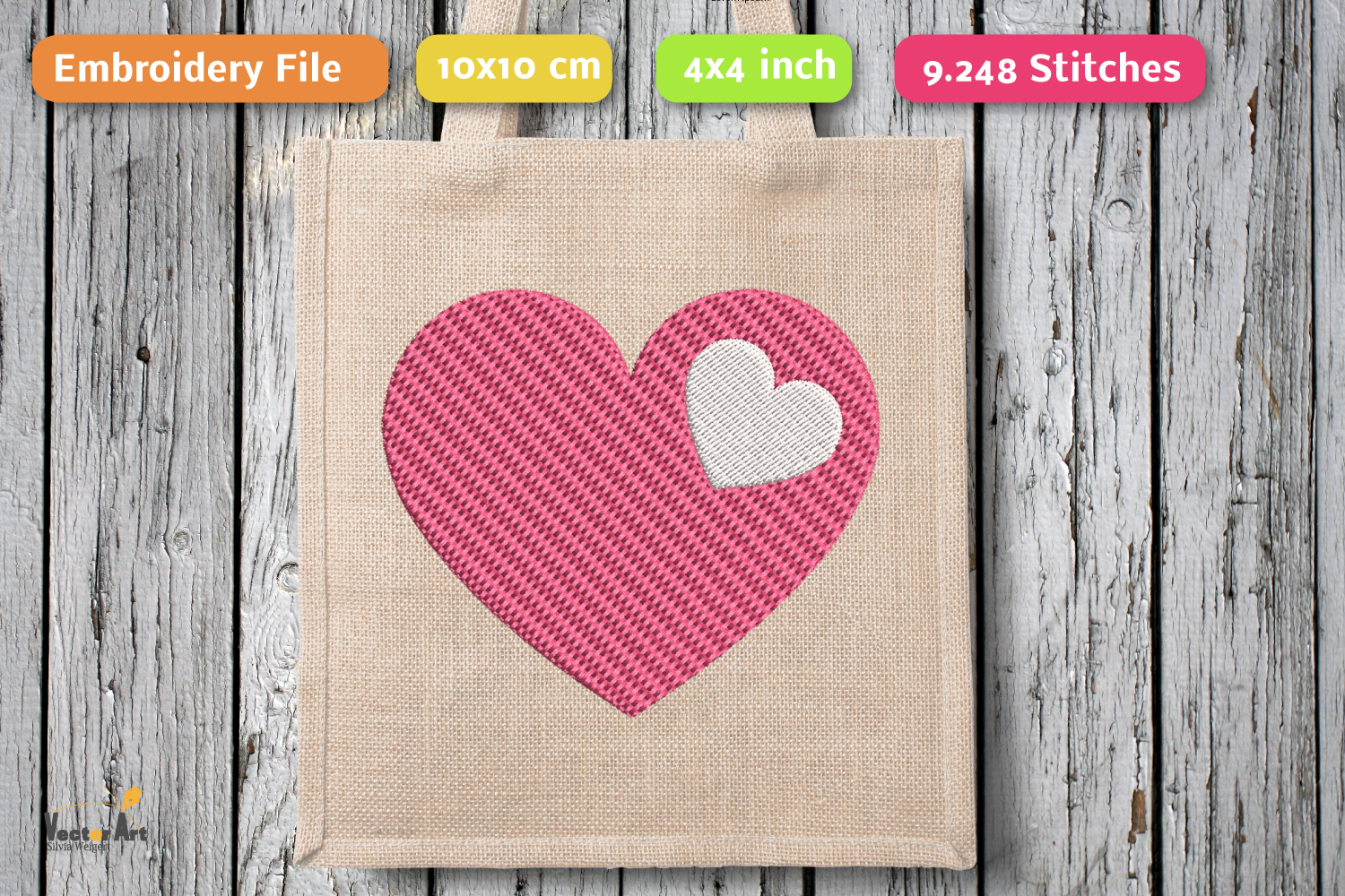3 Hearts - Set - Embroidery File - 4x4 inch example image 4