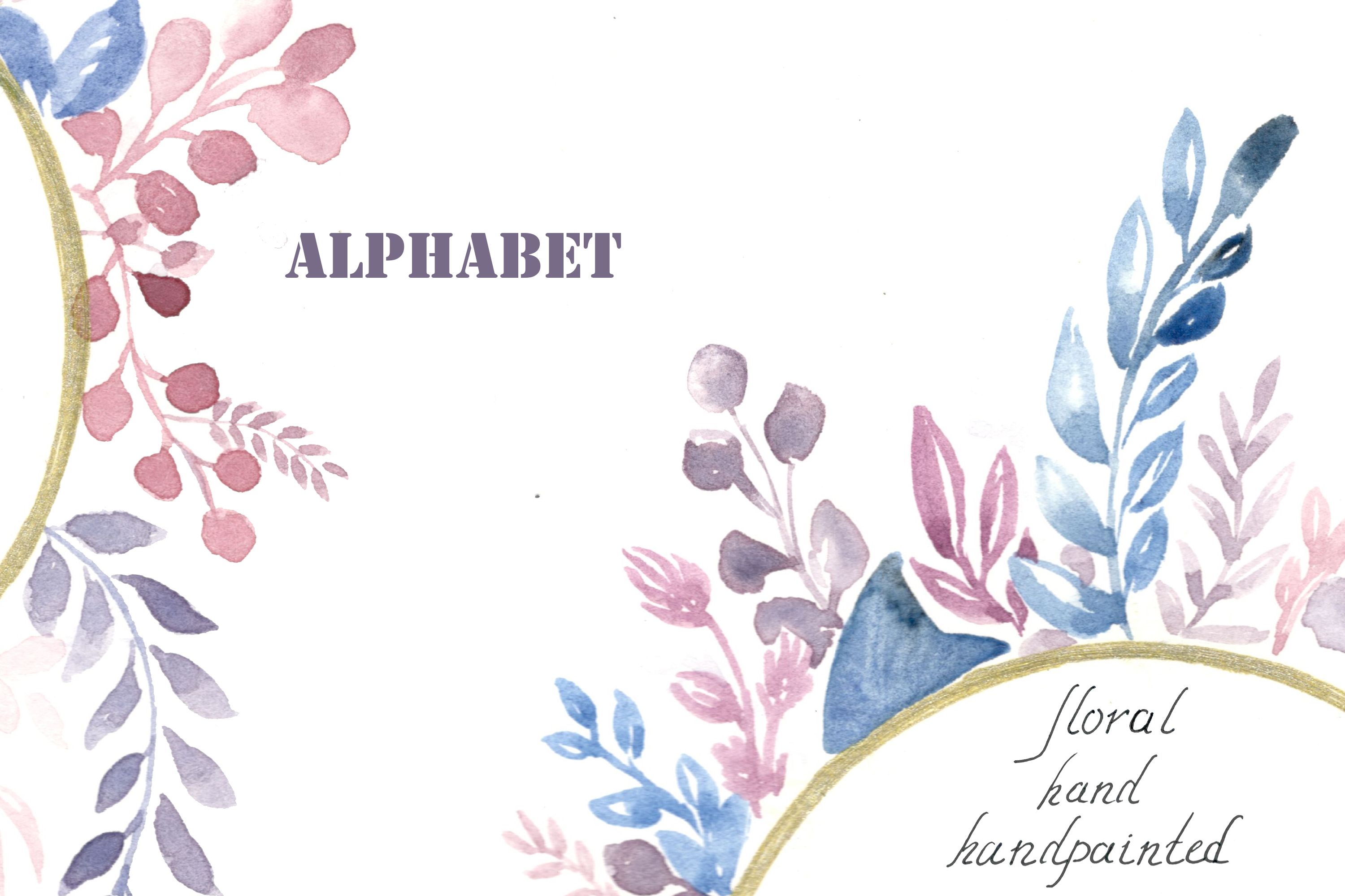 Watercolor alphabet, PNG clipart example image 1