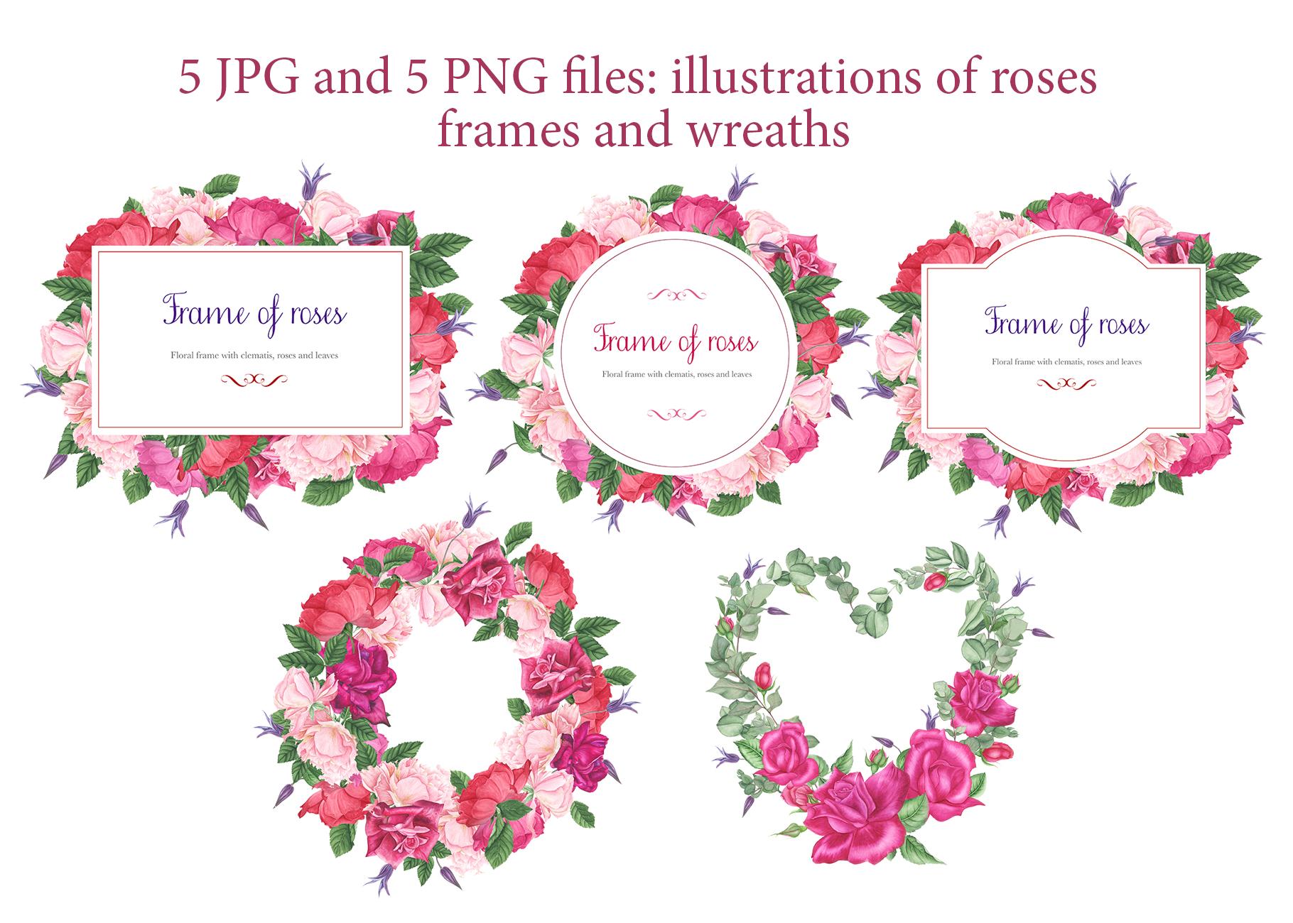 Roses garden watercolor set example image 4