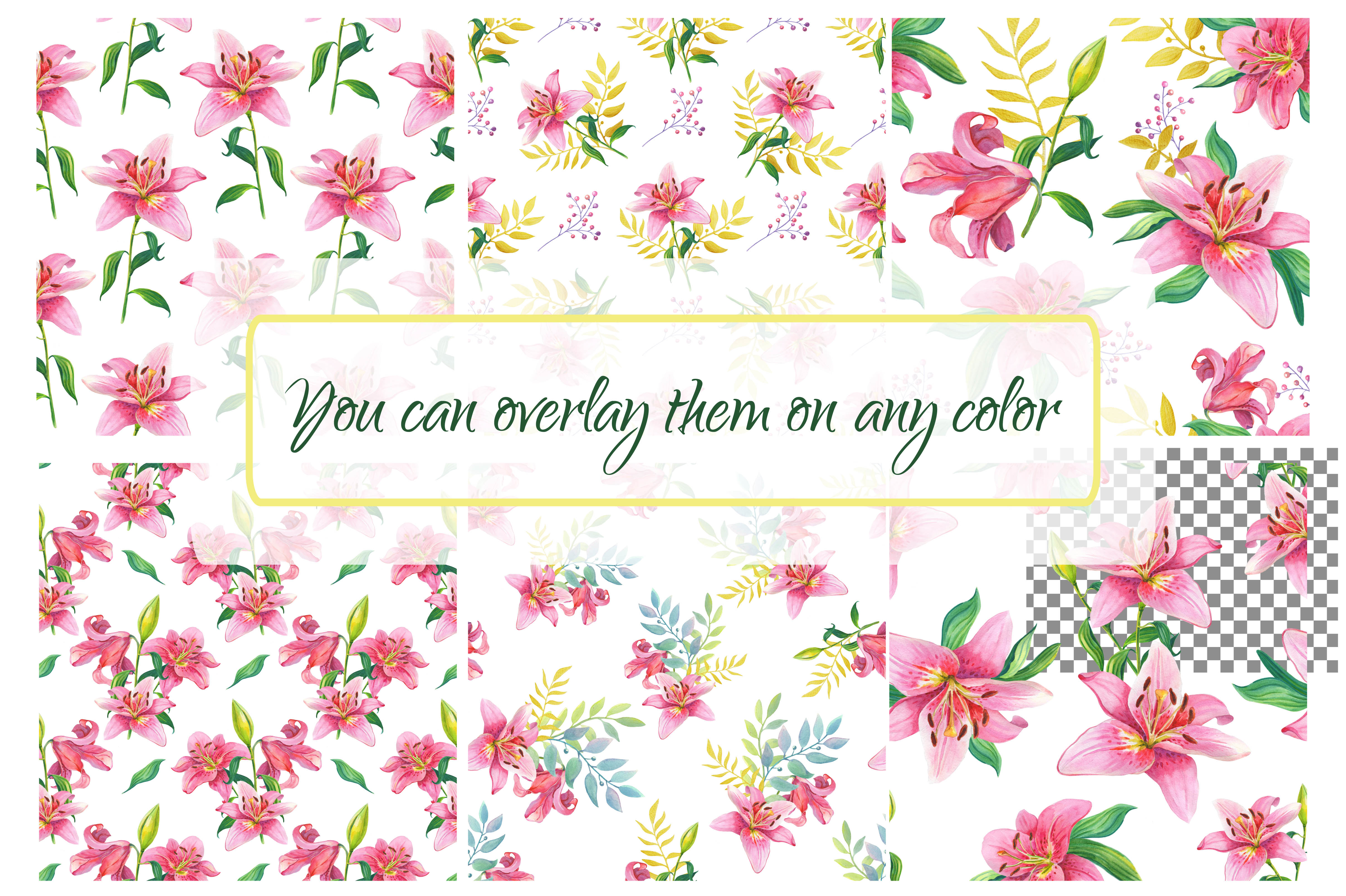 Pink Lilies.Watercolor clipart. example image 7