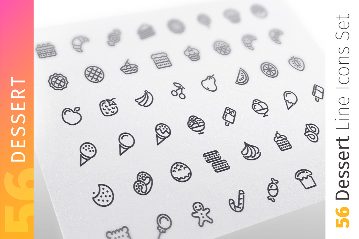 Dessert and Sweet Pastry Line Icons Set example image 1