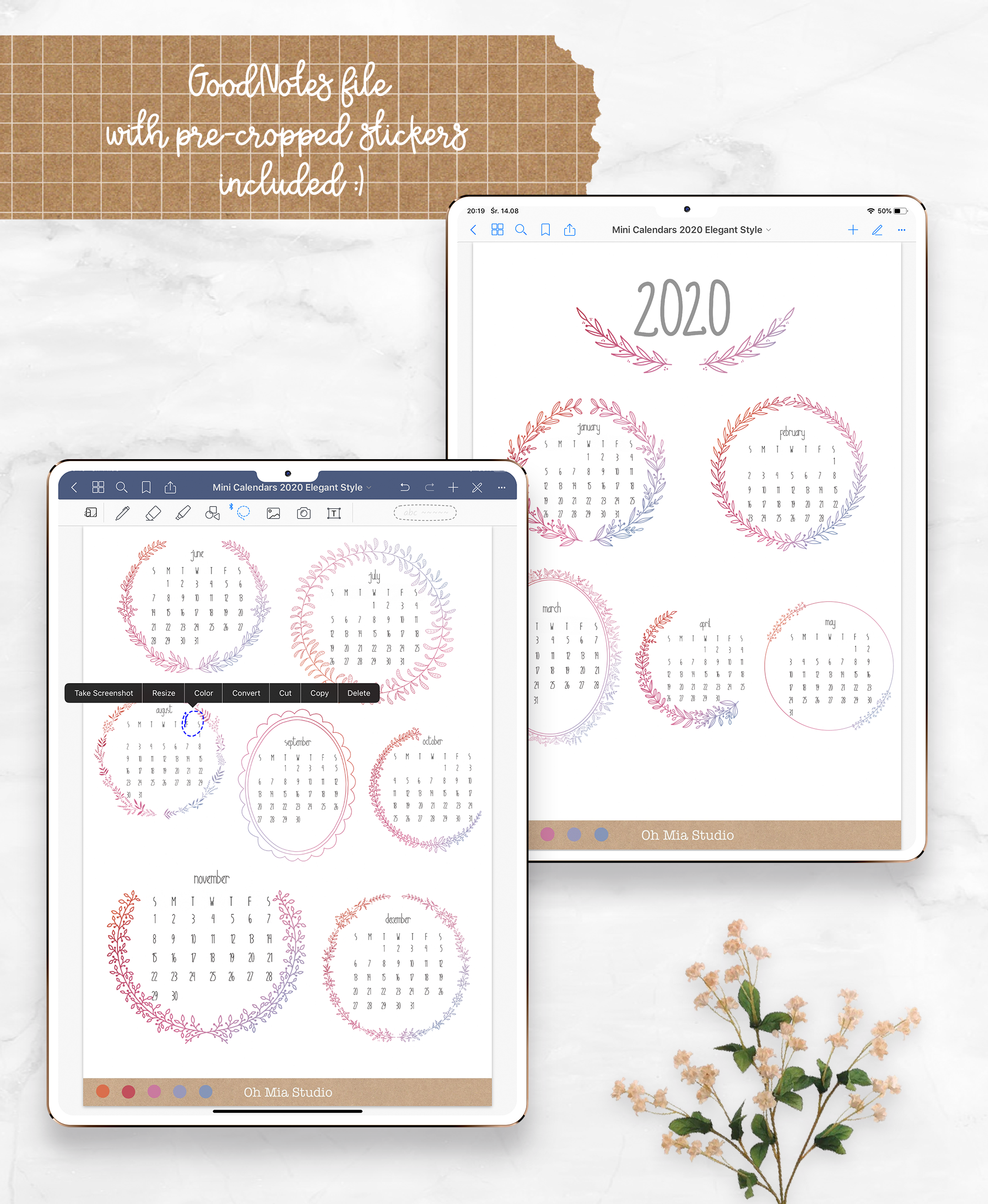 Digital Stickers Mini calendars for 2020, PNG GoodNotes example image 3