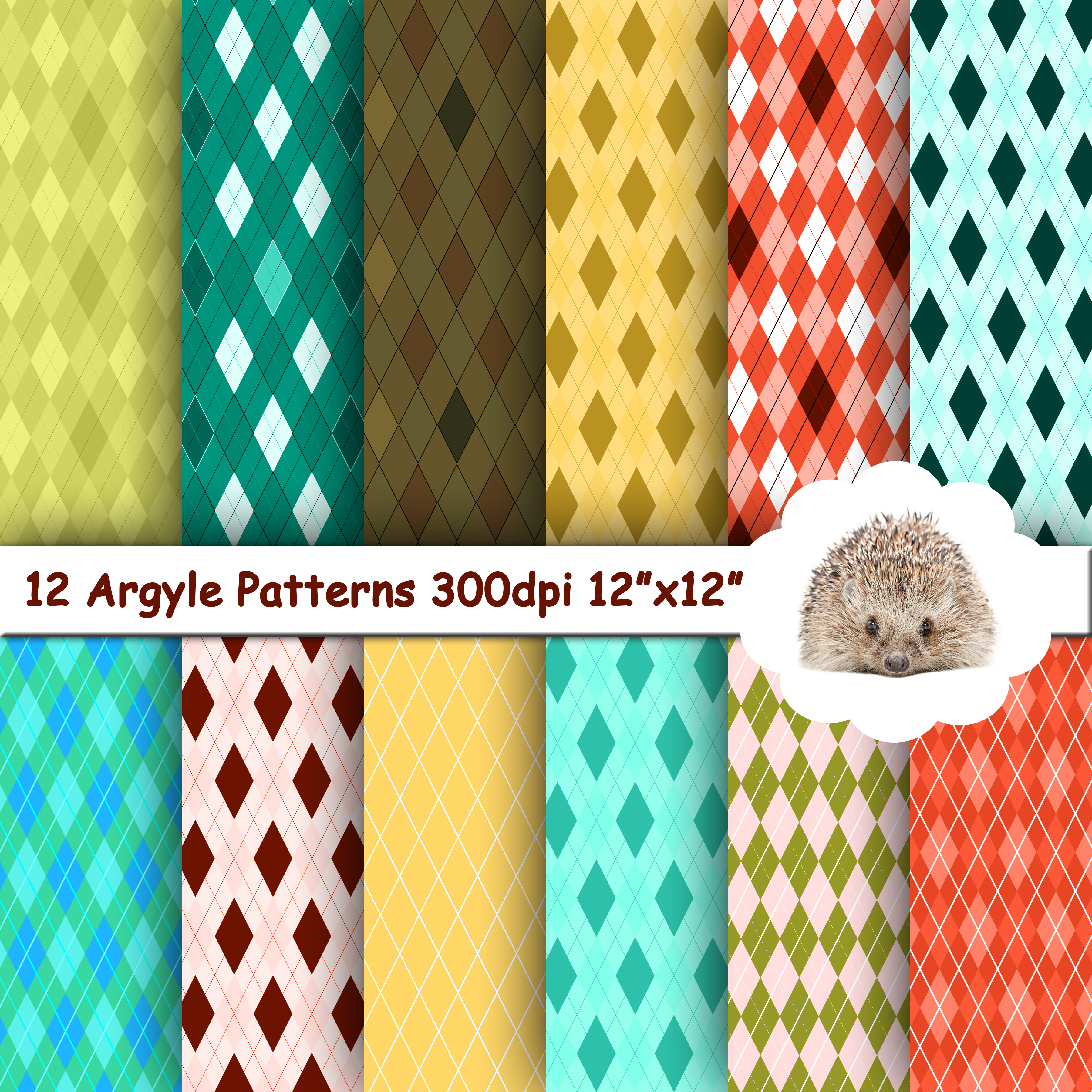 12 Argyle Patterns / Papers / Backgrounds example image 1