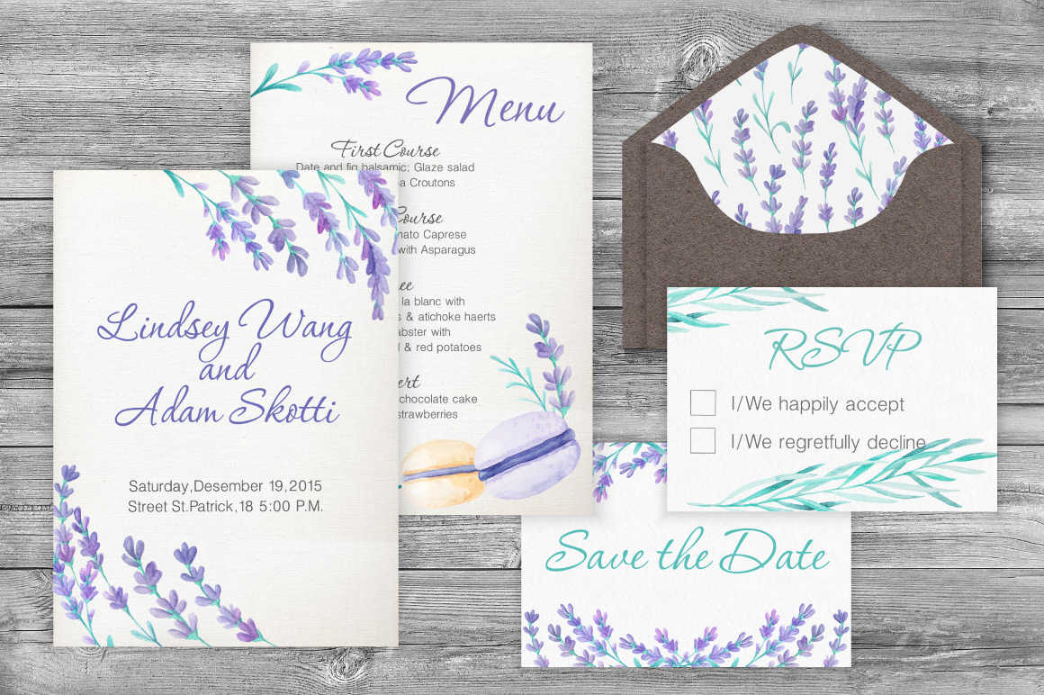 Lavender Wedding Card Set example image 5