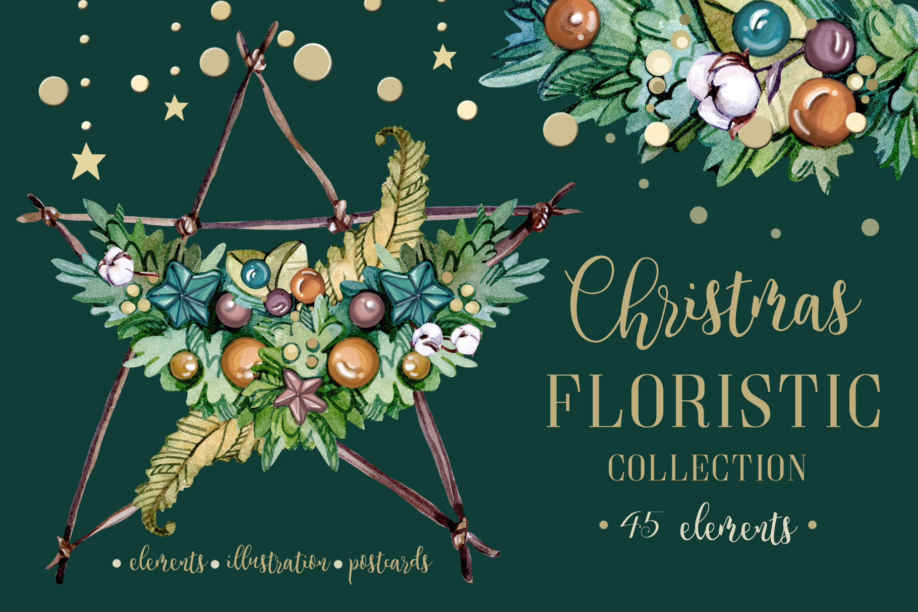 CHRISTMAS FLORISTIC watercolor collection example image 1