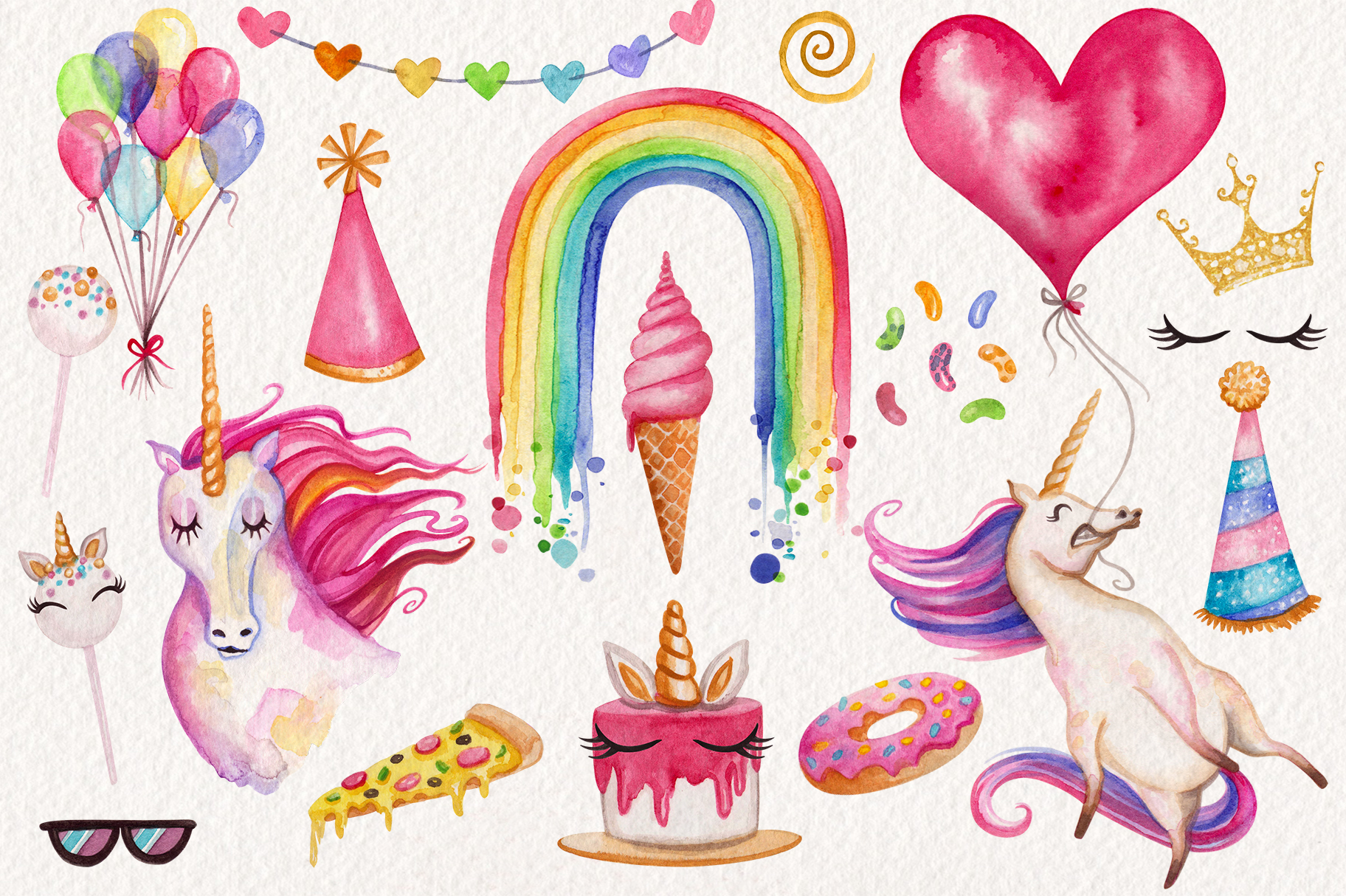 Watercolor Unicorn Birthday Party example image 2