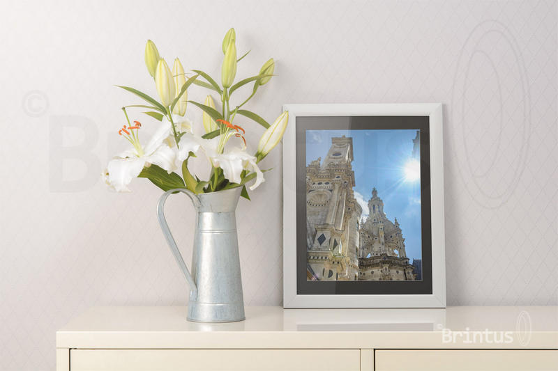 Frame mockup - clean bright interior lily flowers example image 7