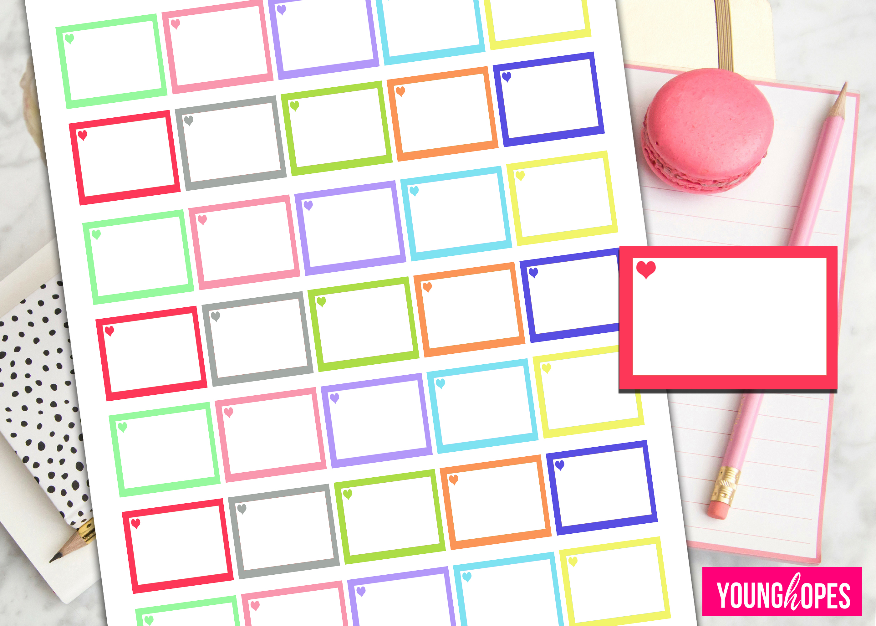 Half Box Planner Stickers-Printable Planner Stickers example image 2
