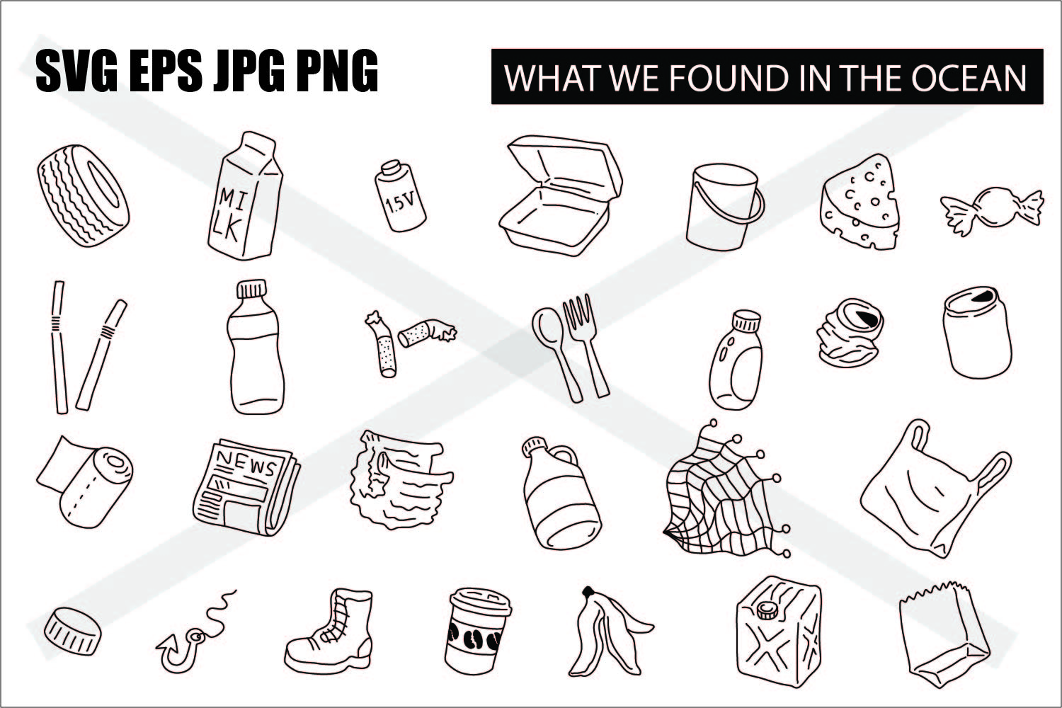 What we found in the ocean - SVG EPS JPG PNG example image 1