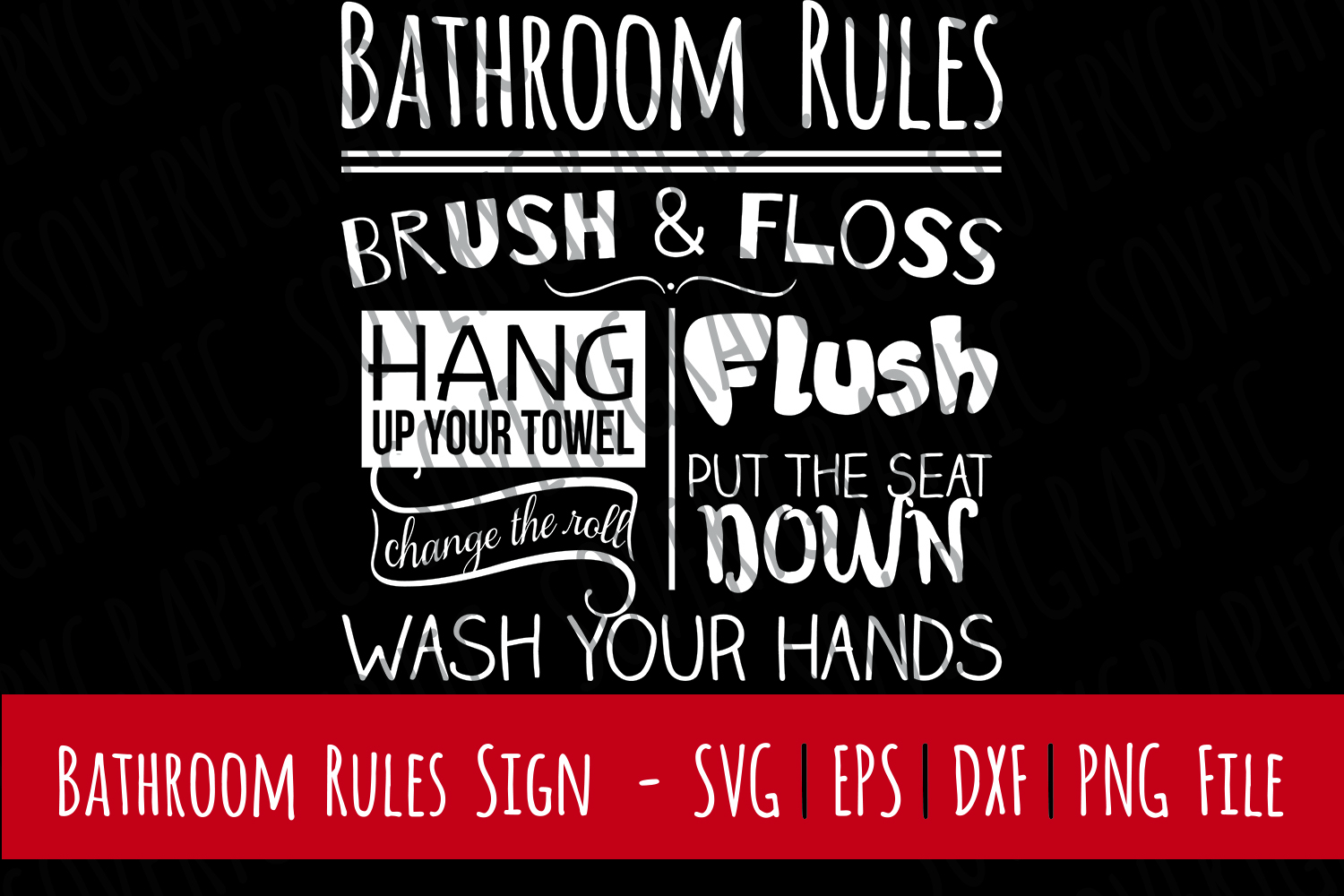 Bathroom Rules Sign | Cut File SVG | PNG Printable example image 1