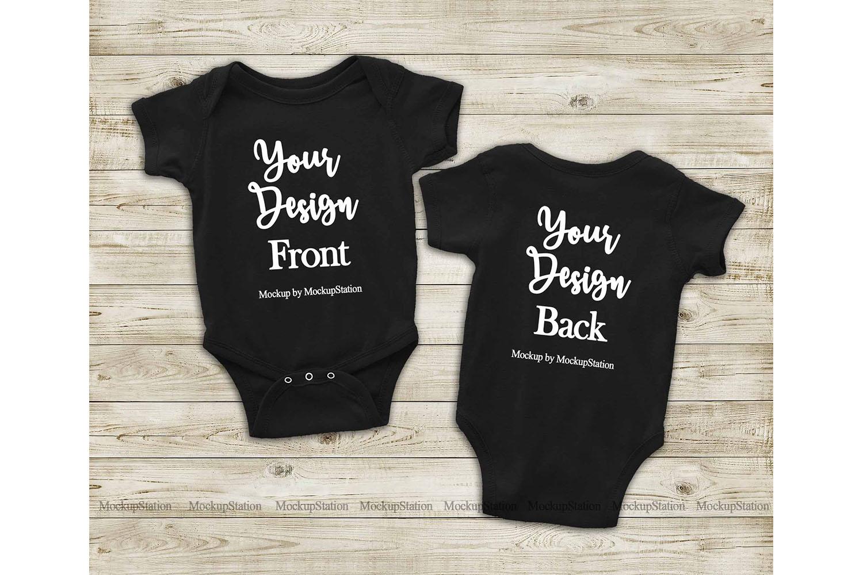 Black Front & Back Baby Bodysuit Mockup, Toddler Mock Up example image 1