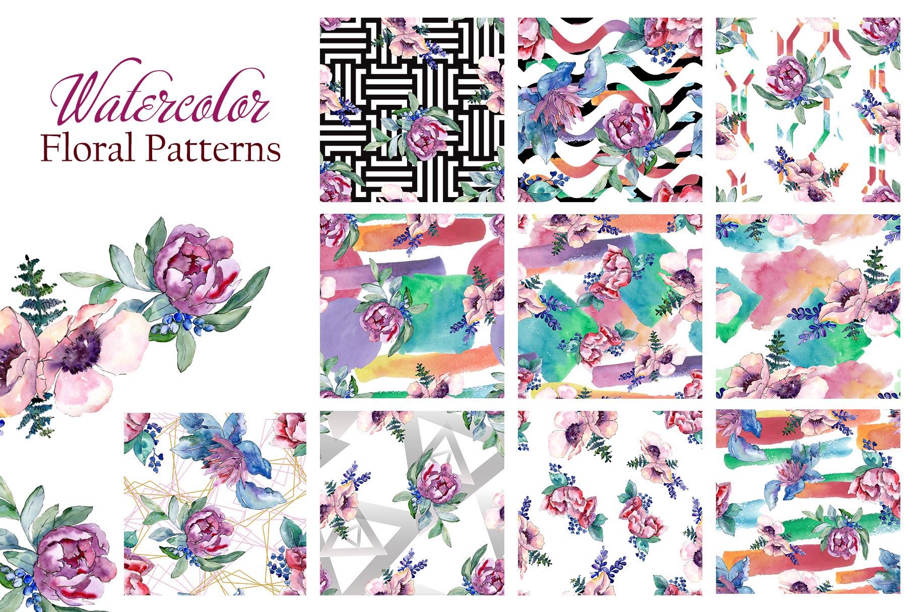 Bouquets with peonies Phuket Watercolor png example image 5