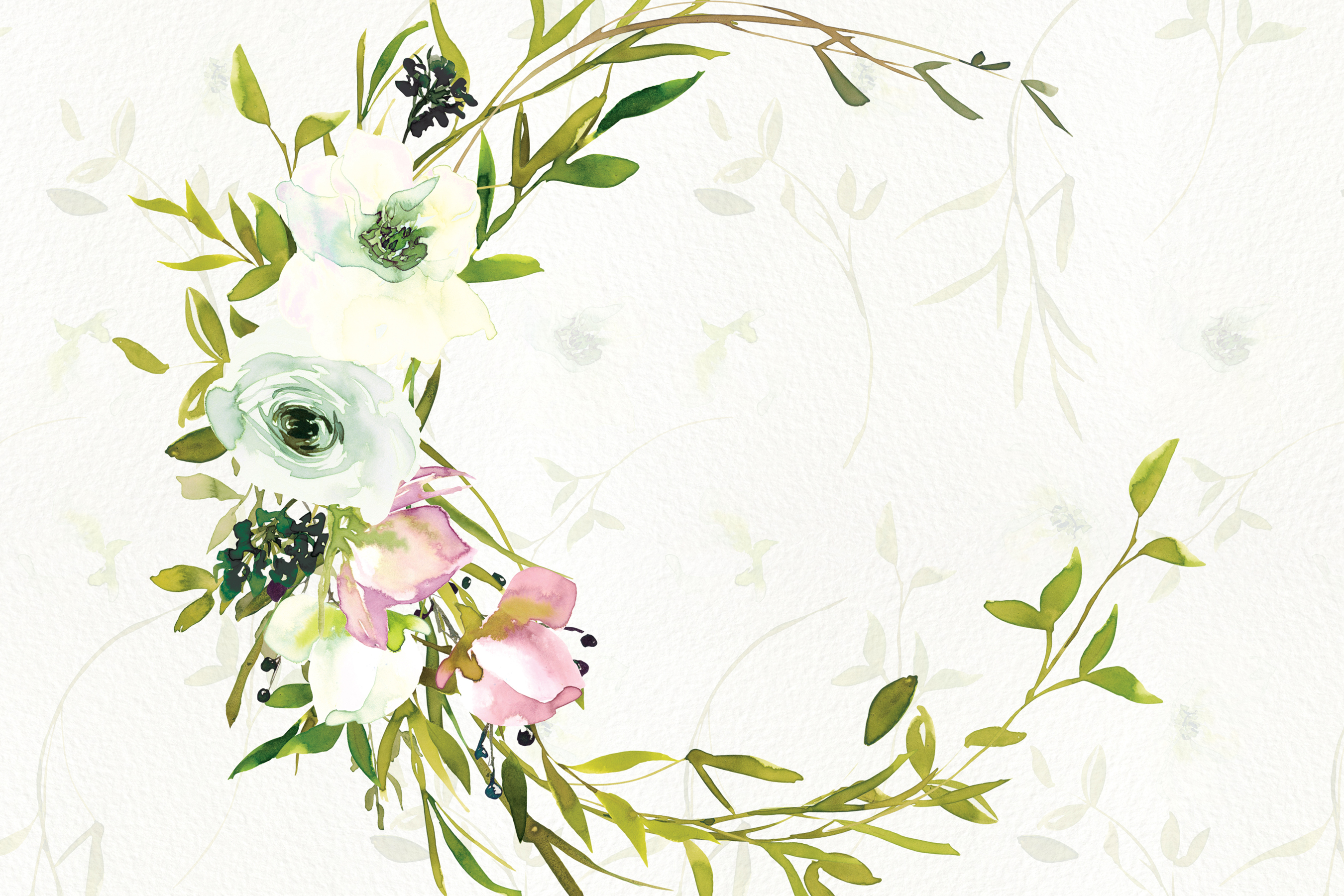 Watercolor Blush and WhiteRose Clipart and Wreaths example image 3