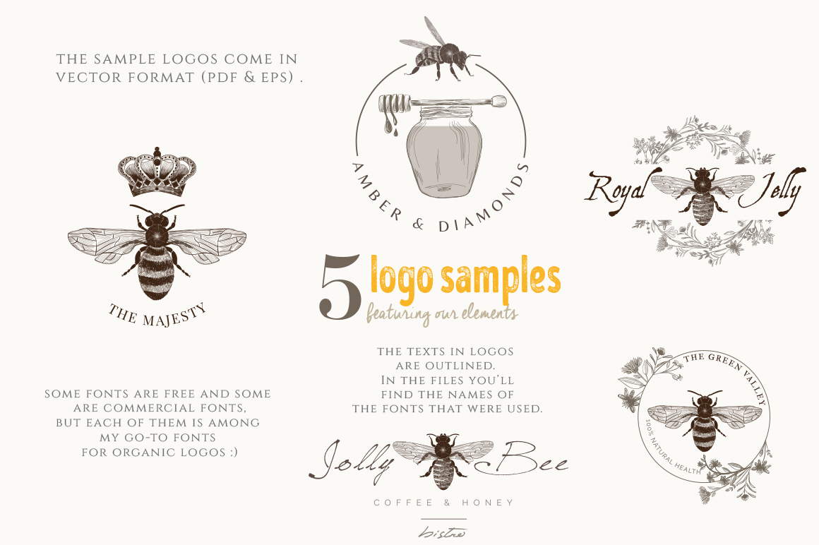 ORGANIC LOGO ELEMENTS  HONEY example image 9