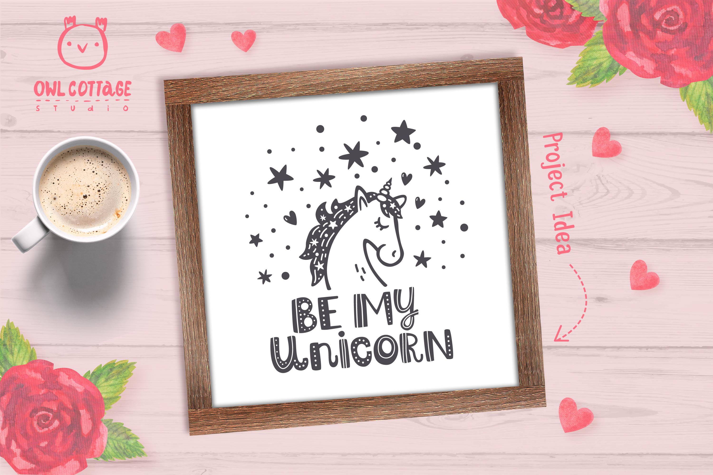 Valentine Unicorn Svg, Be My Unicorn Cut File, Valentines Da example image 9