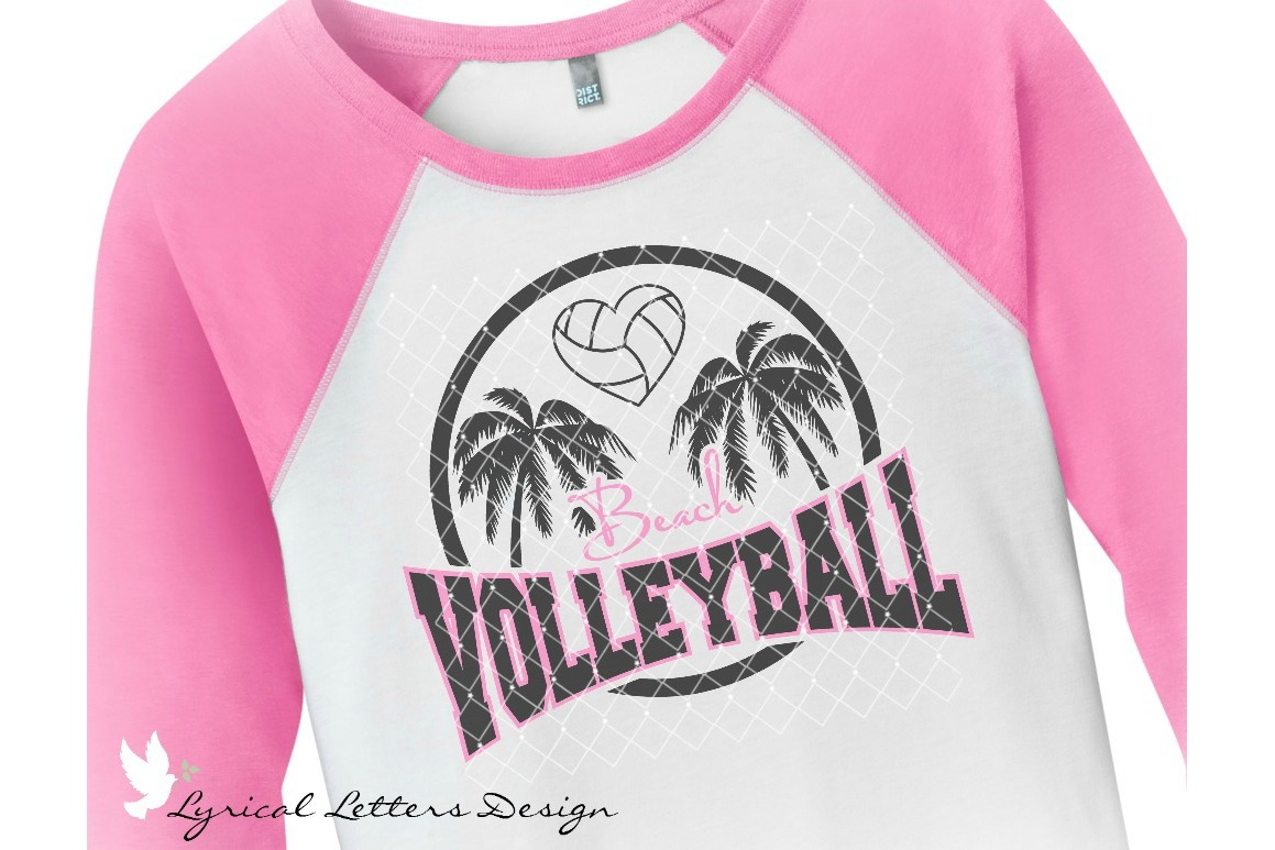 Beach Volleyball with Palm Trees SVG DXF FCM Cut File LL141C example image 2