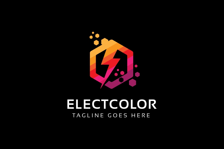 Electro Colorful Hexagon Logo example image 2