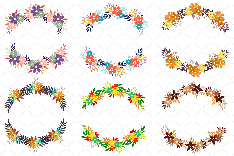6 Round floral frames, flower round wreaths SVG, set of dood example image 2