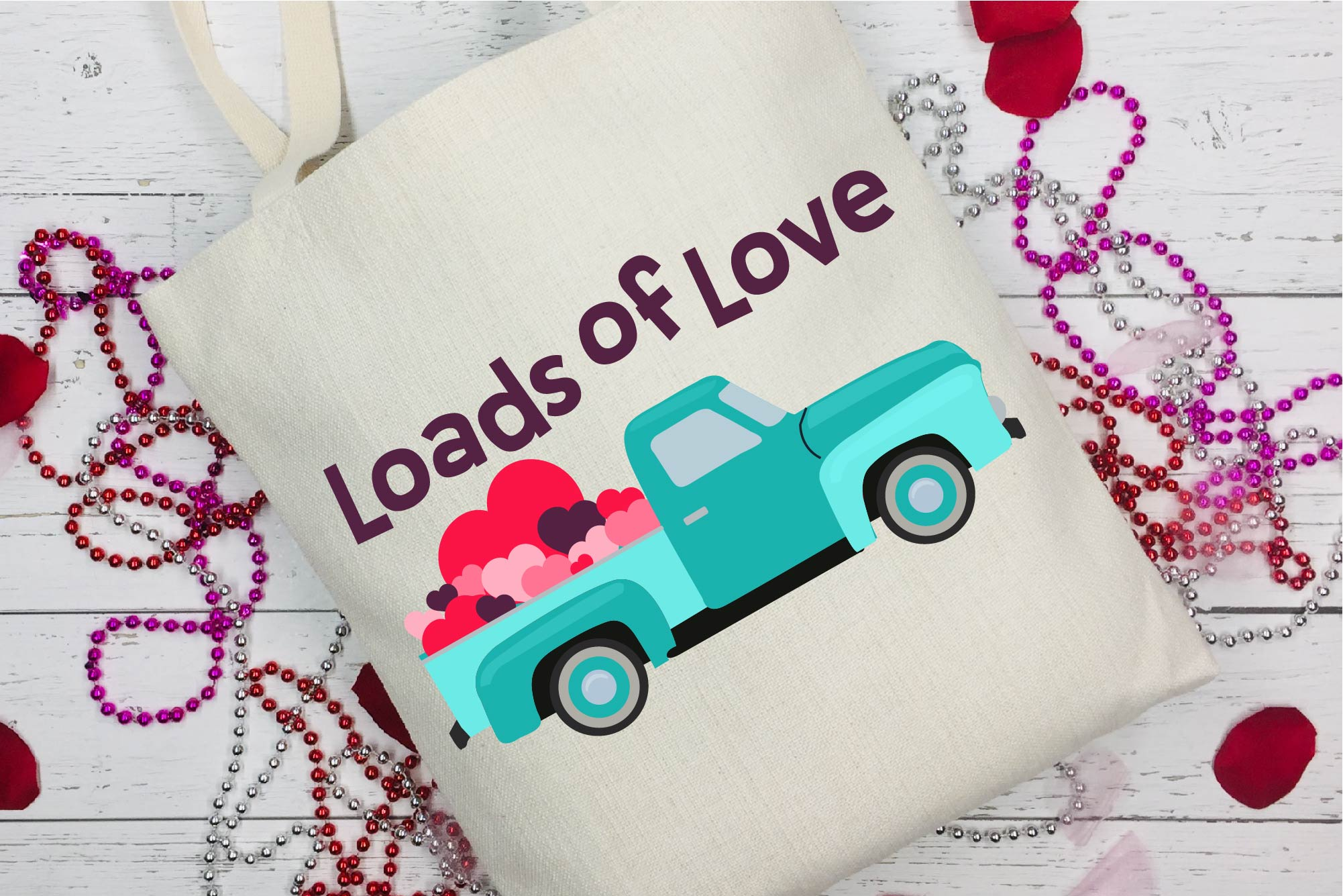 Valentine's Day SVG Valentine Vintage Truck Loads Of Love example image 1