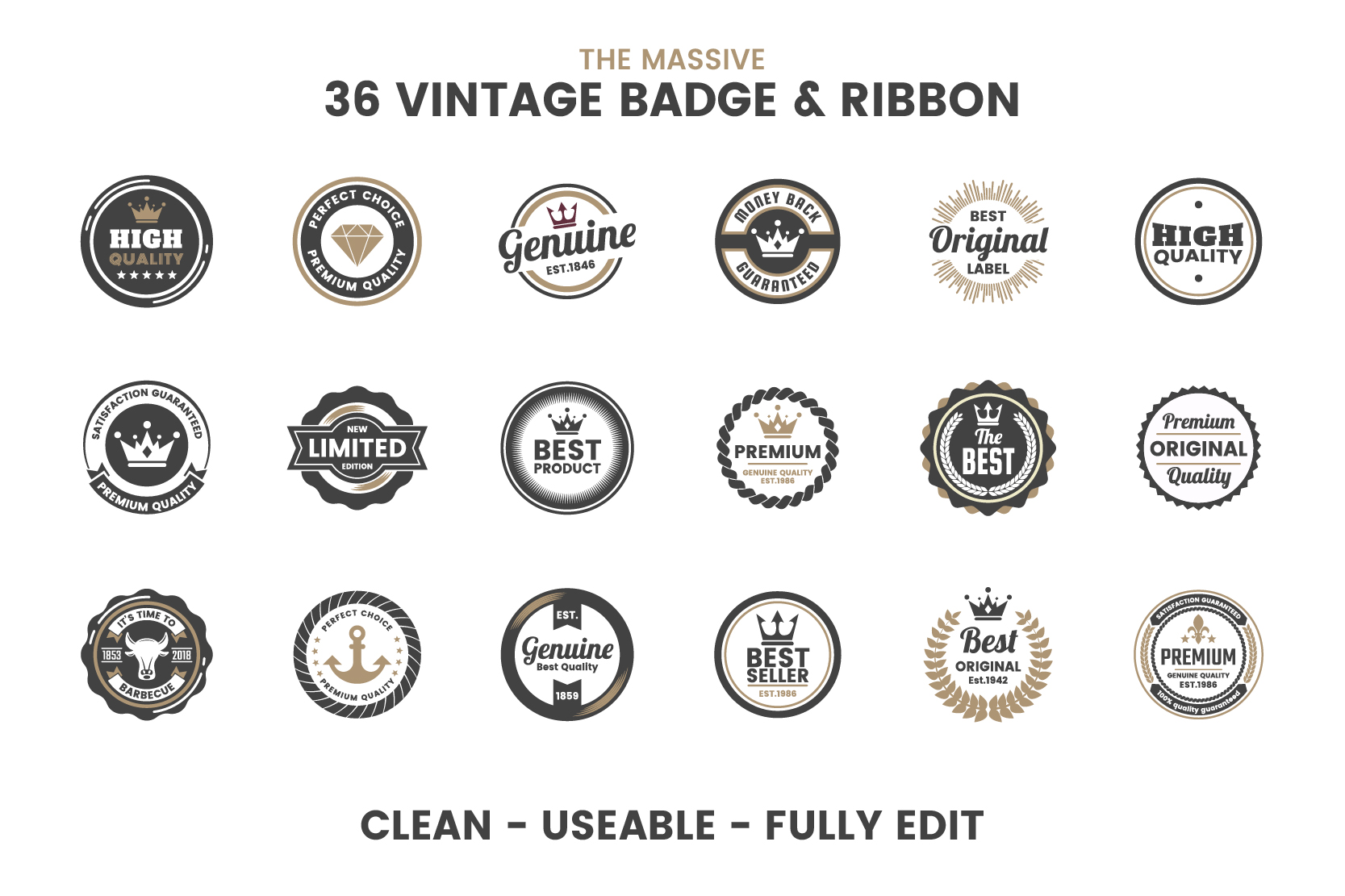 36 VINTAGE BADGE & RIBBON Vol.4 example image 7