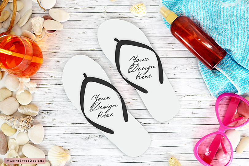Summer Beach Flip Flop mockup, craft mockup PSD & PNG, 966 example image 1