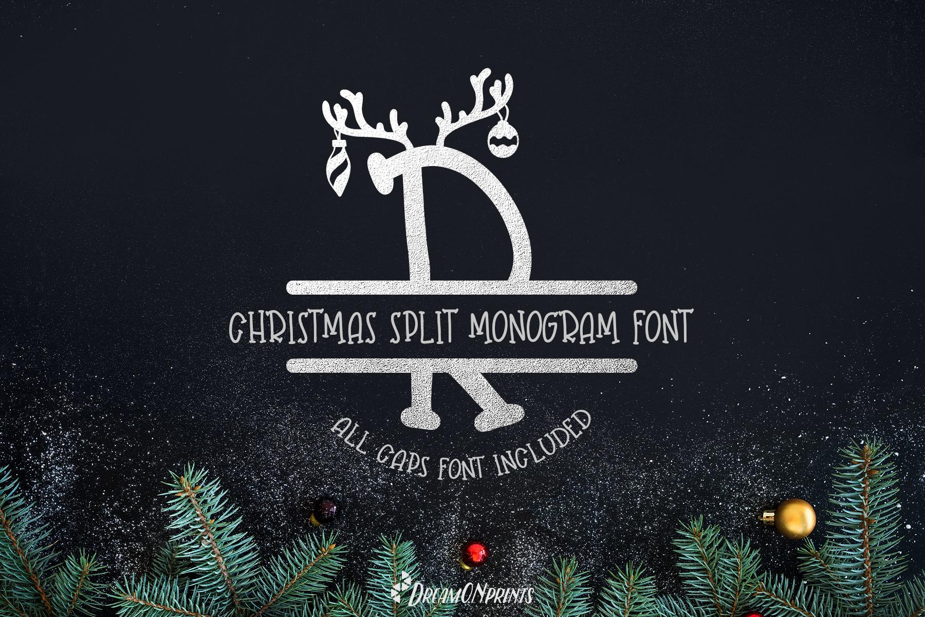 Reindeer Dust - Christmas Split Monogram Font example image 1