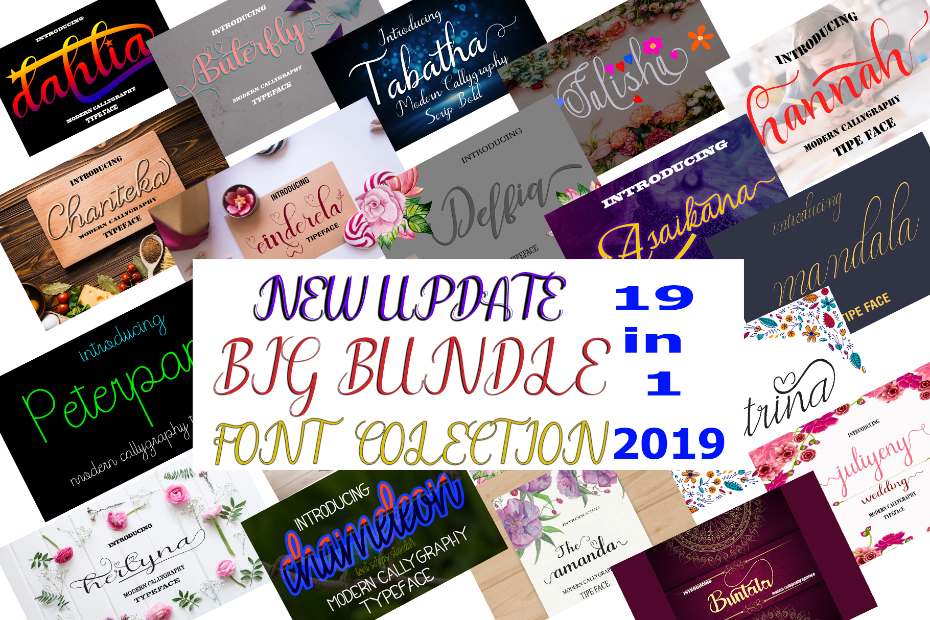 19 In 1 Font Colection 2019 -Bonuss 7 Font example image 1