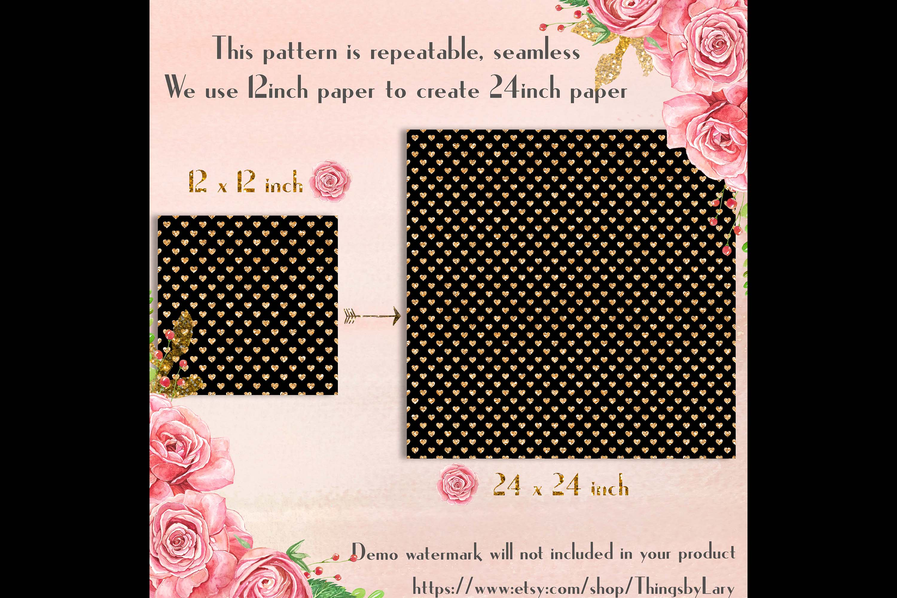 100 Seamless Black and Glitter Heart Valentine Digital Paper example image 8