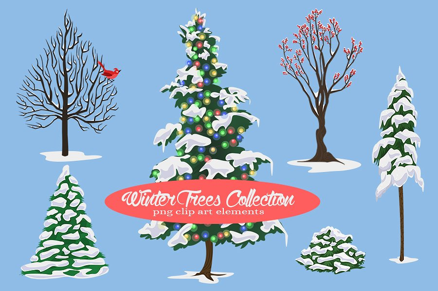 Winter Tree Illustrations Collection example image 1
