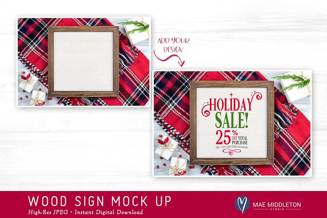 Framed wooden sign mock up for Christmas example image 2